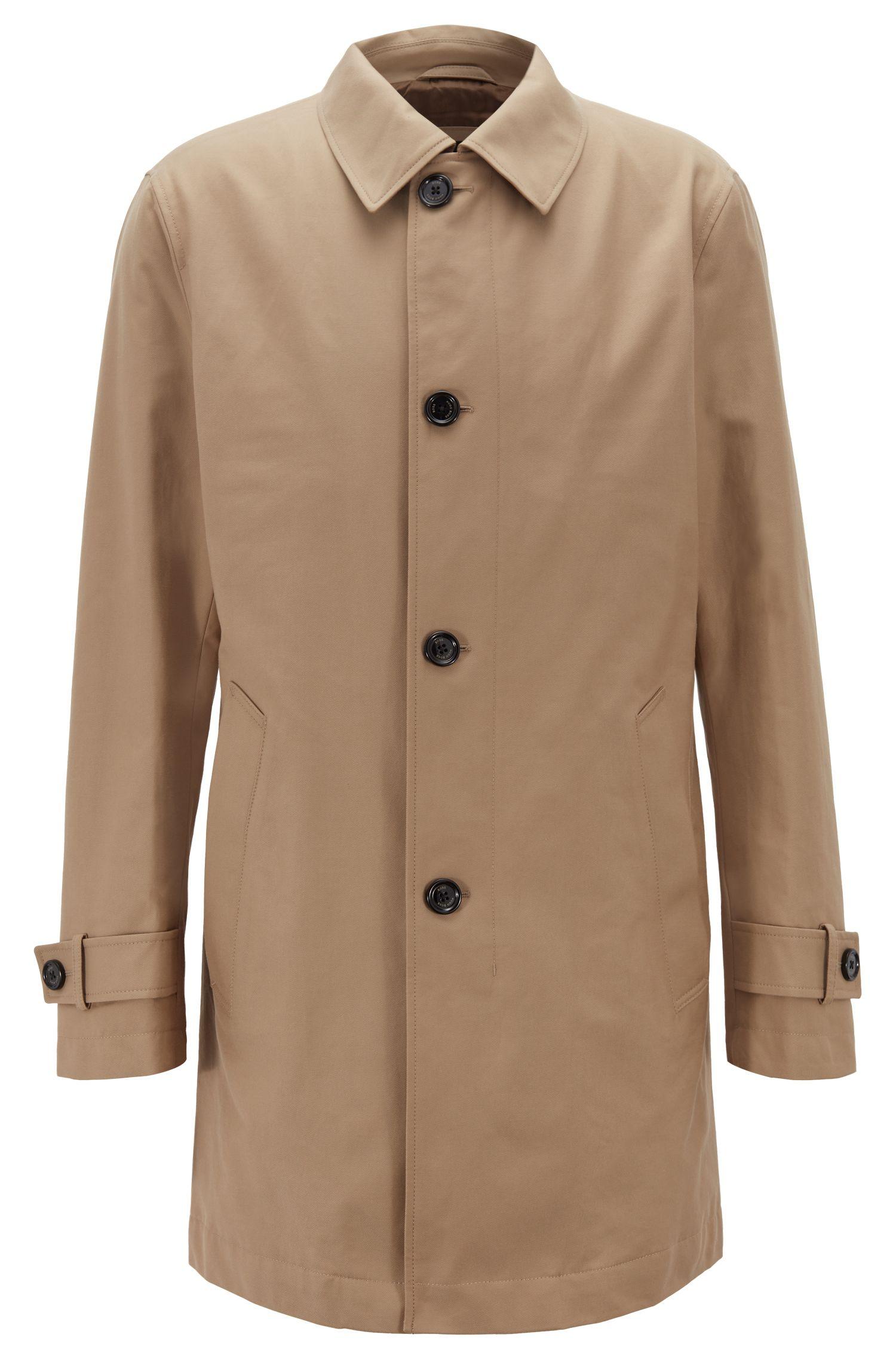 Mantel aus umweltfreundlichem Twill mit Knopfleiste, Beige