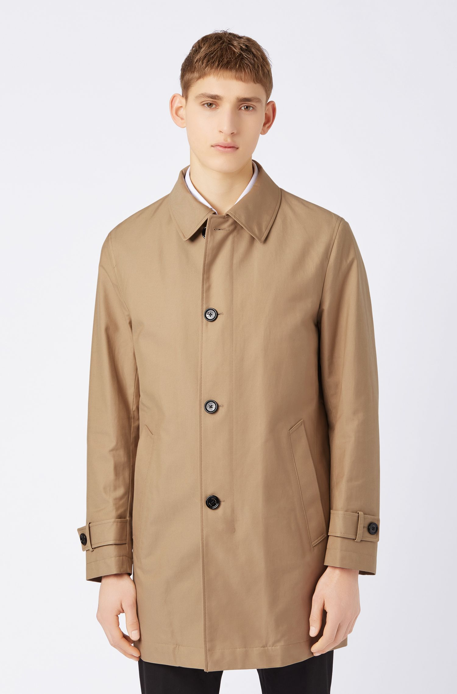Button-through overcoat in eco-friendly twill, Beige