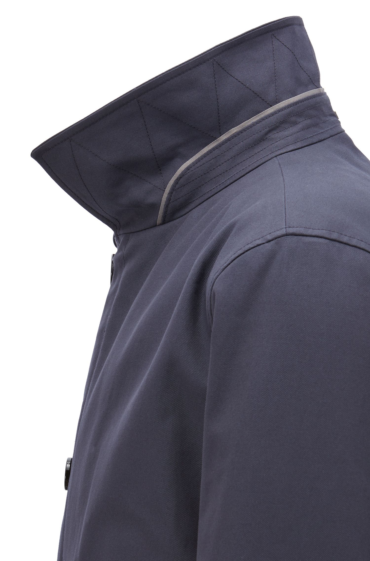 Button-through overcoat in eco-friendly twill, Dark Blue