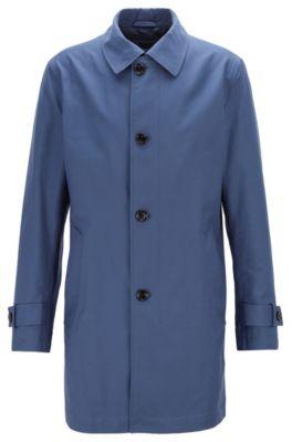 Abrigo largo abotonado en sarga ecológica, Azul