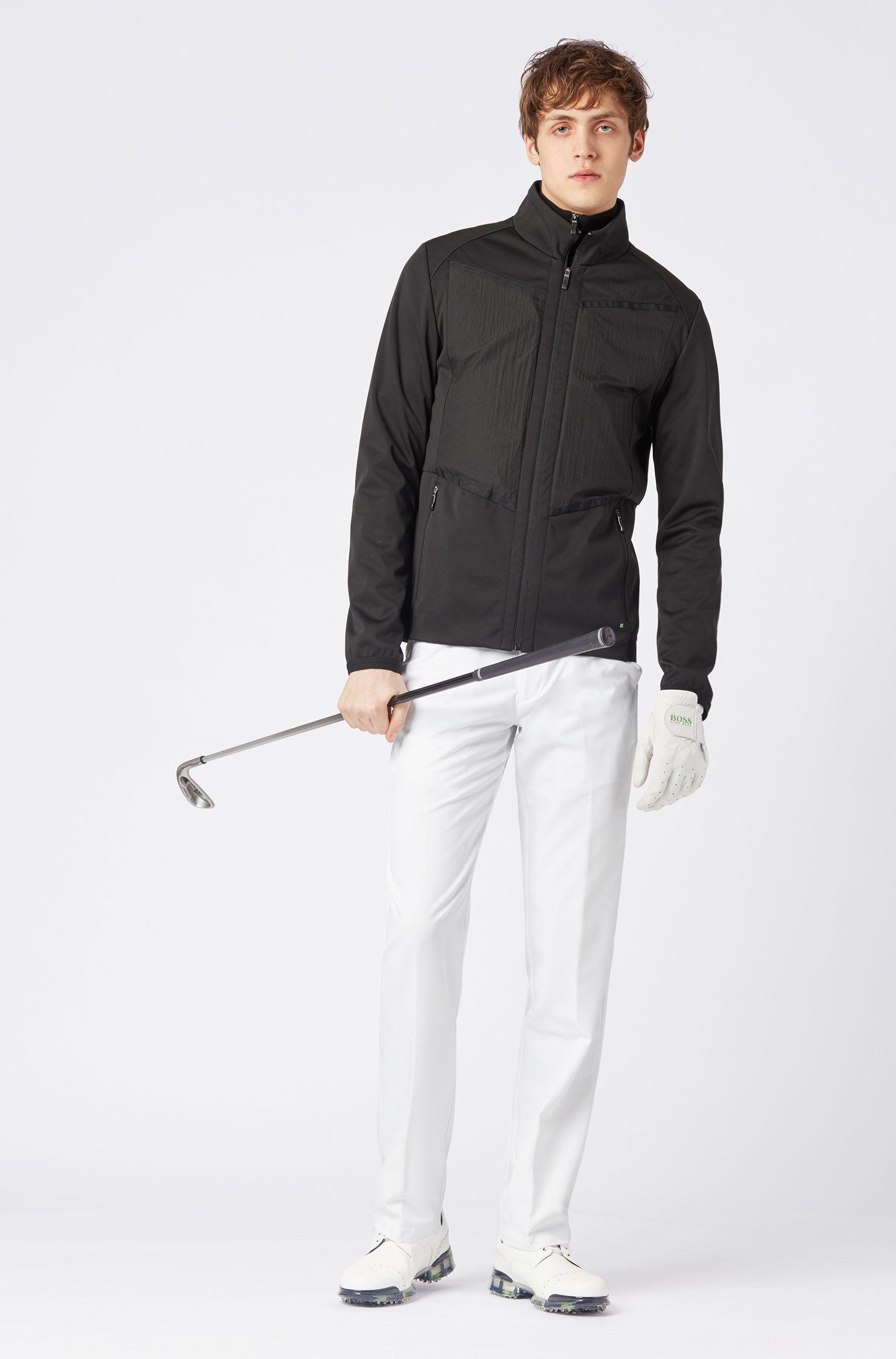 Wasserabweisende Jacke mit abnehmbarem Daunen-Einsatz, Schwarz