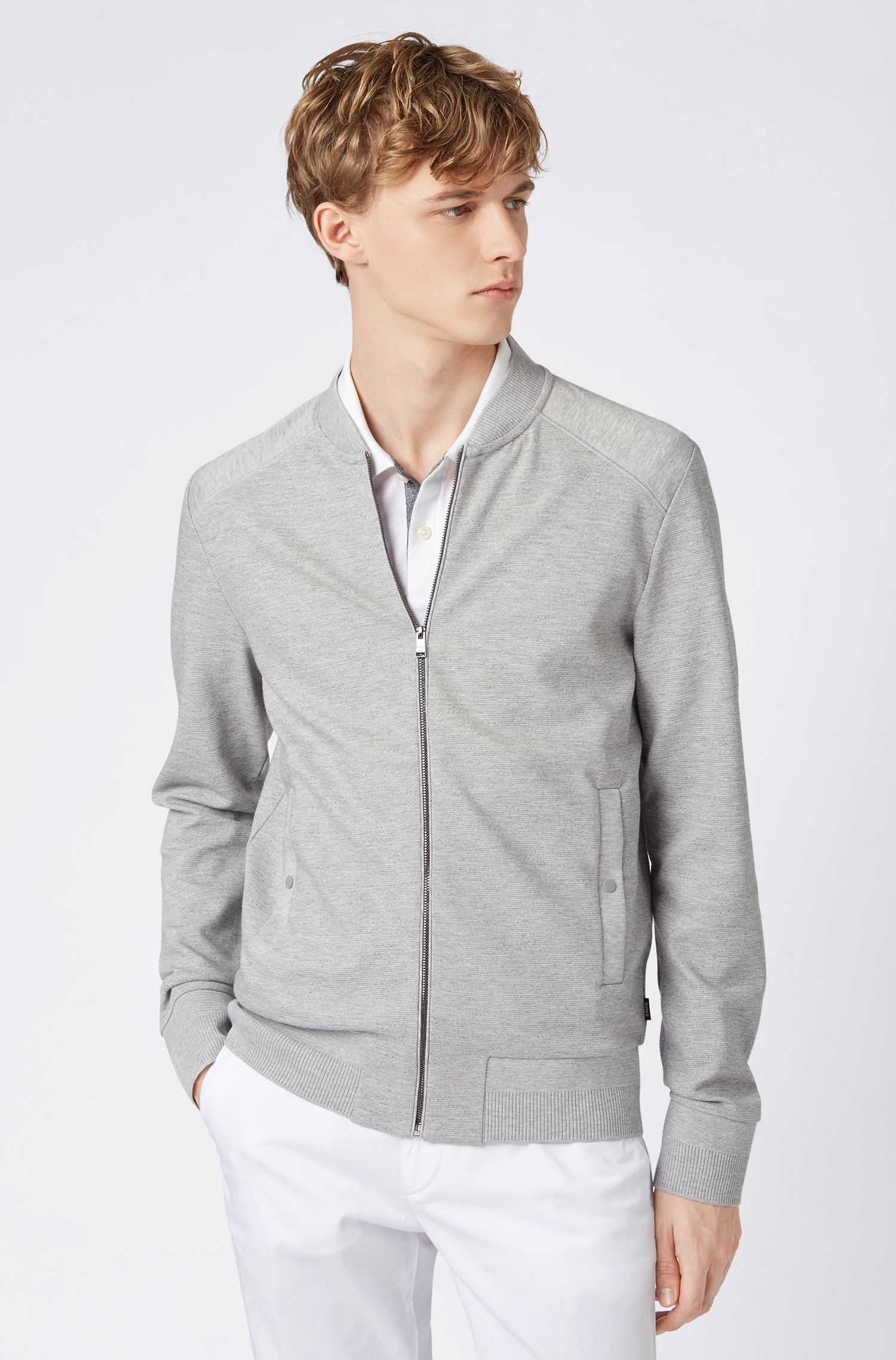 Regular-fit bomber-style jacket in cotton jacquard, Grey