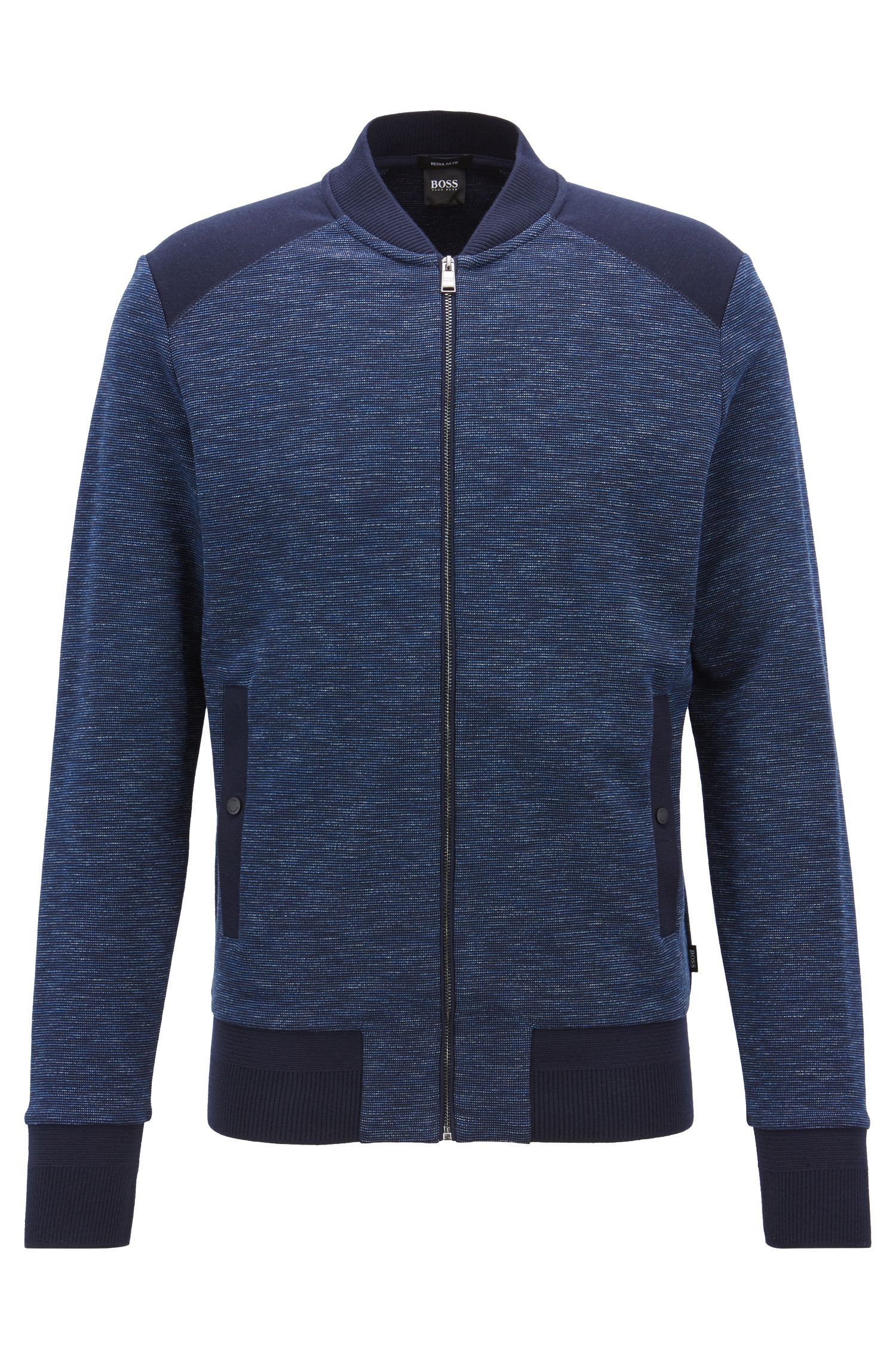 Regular-fit bomber-style jacket in cotton jacquard, Dark Blue