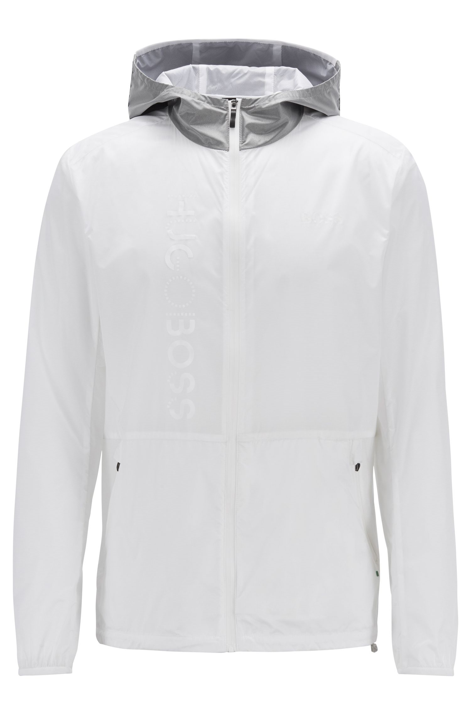 Packable hooded jacket in water-repellent translucent fabric, White