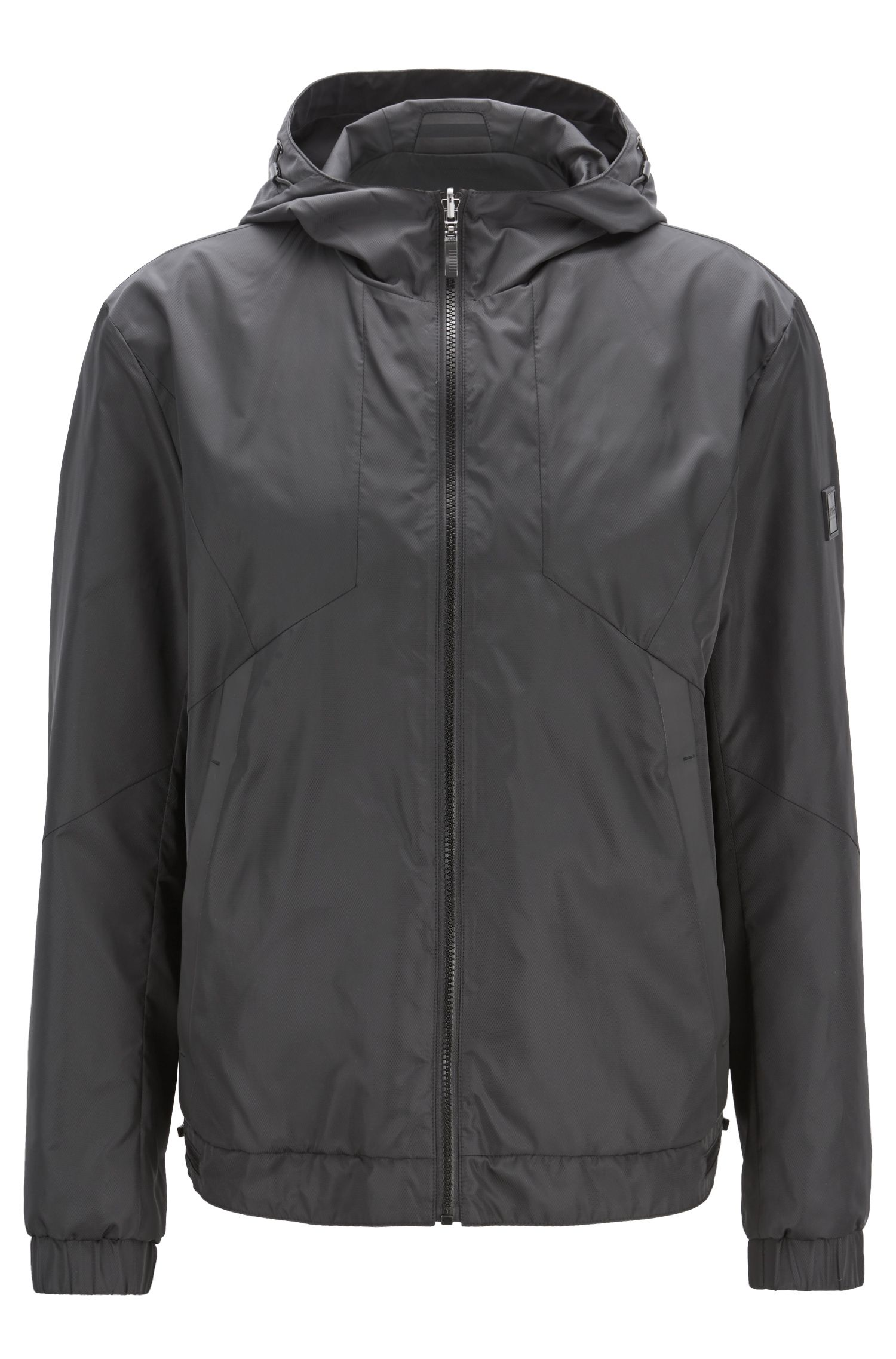 Reversible hooded jacket in water-repellent micro-structure fabric, Black