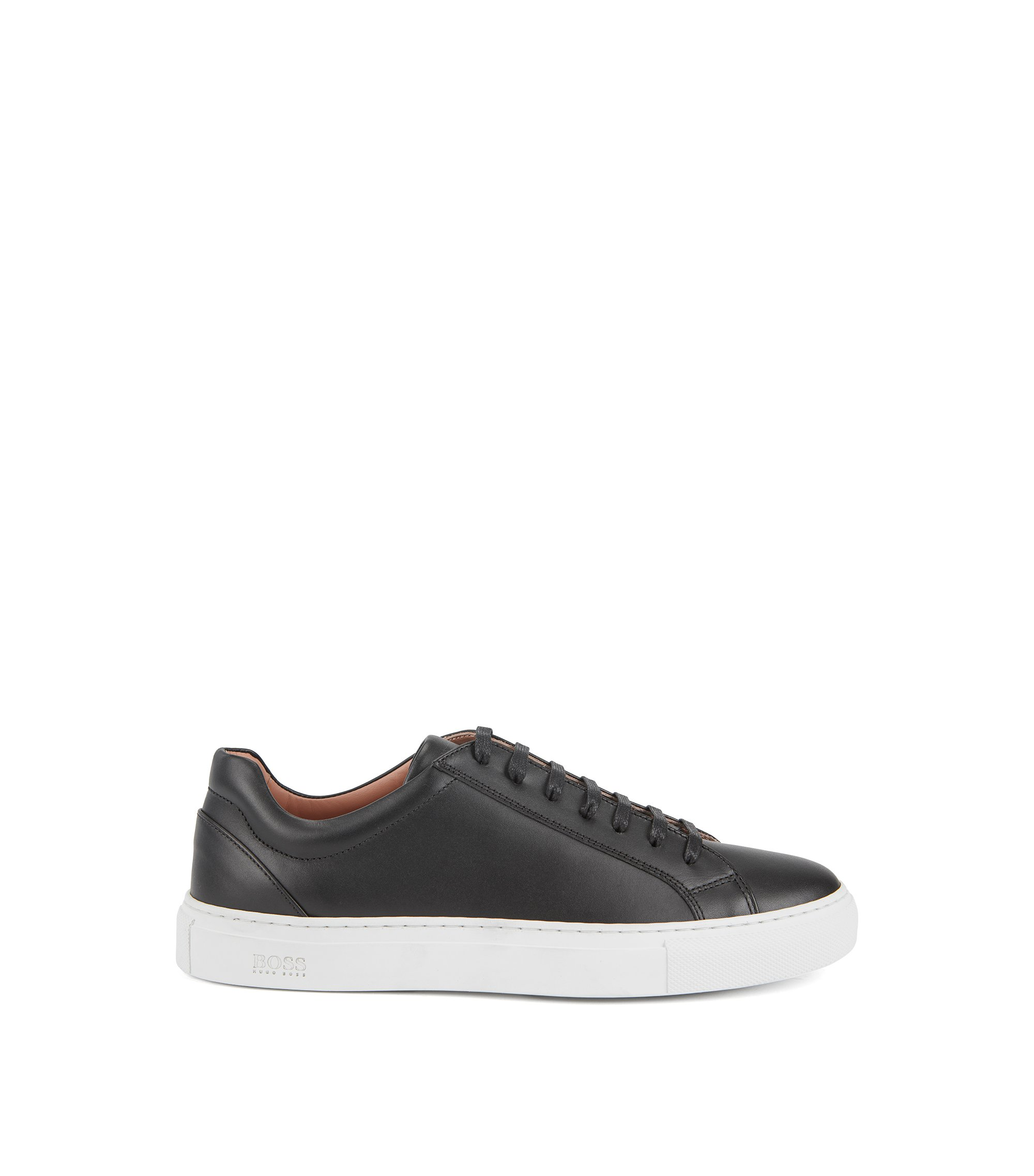 Low-top trainers in tumbled Italian calf leather, Black