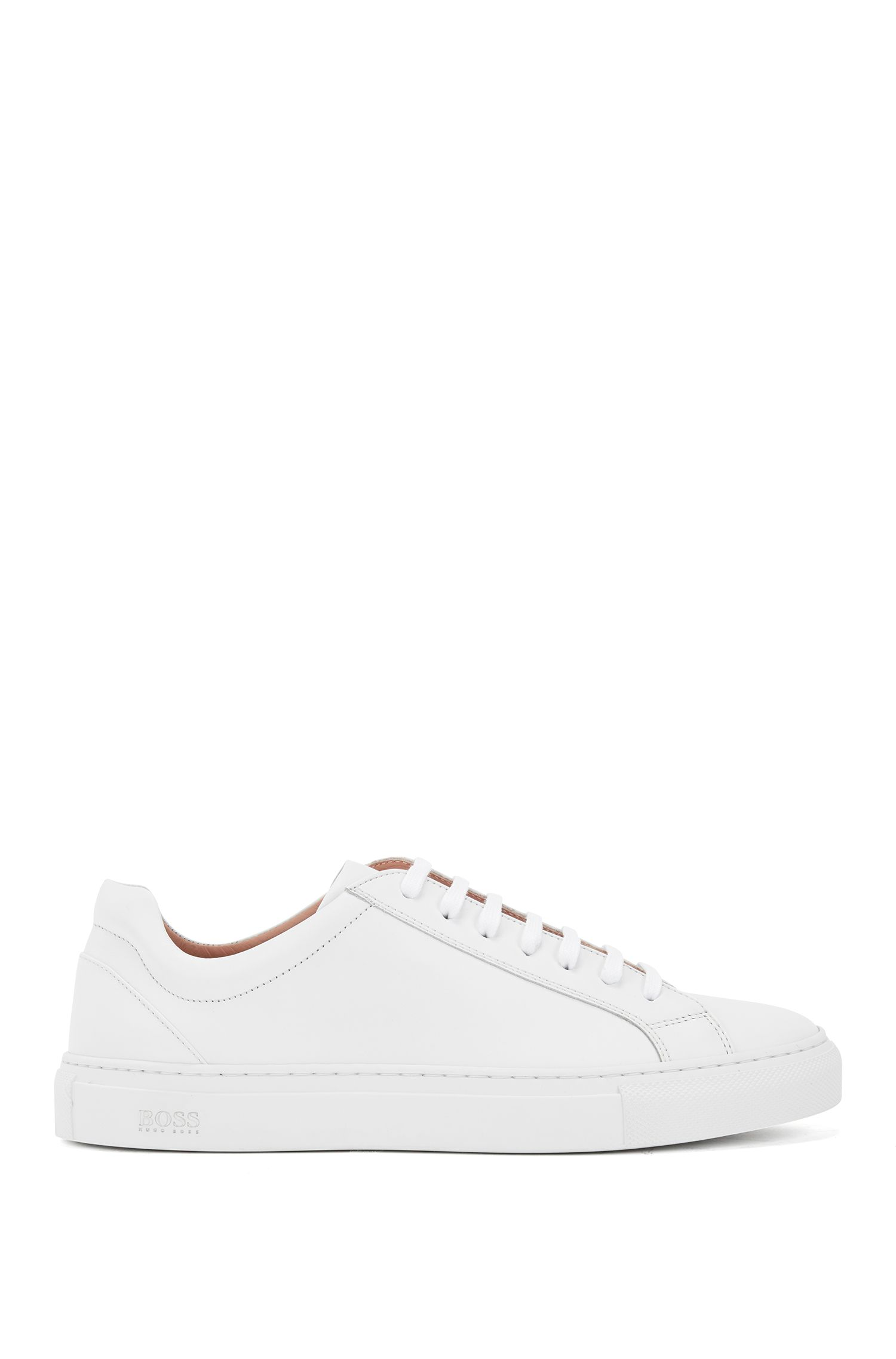 Low-top trainers in tumbled Italian calf leather, White