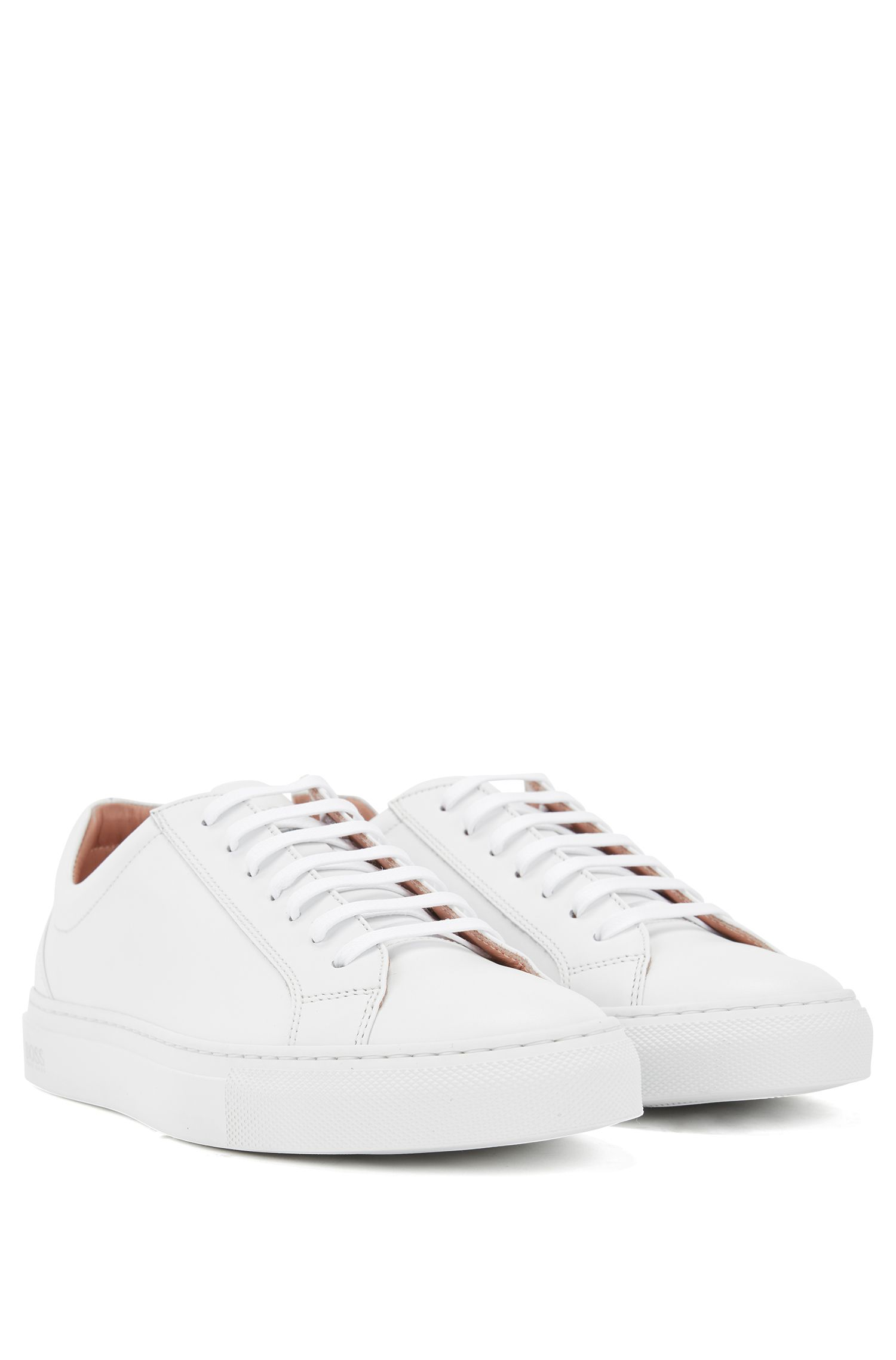 Low-top trainers in tumbled Italian calf leather