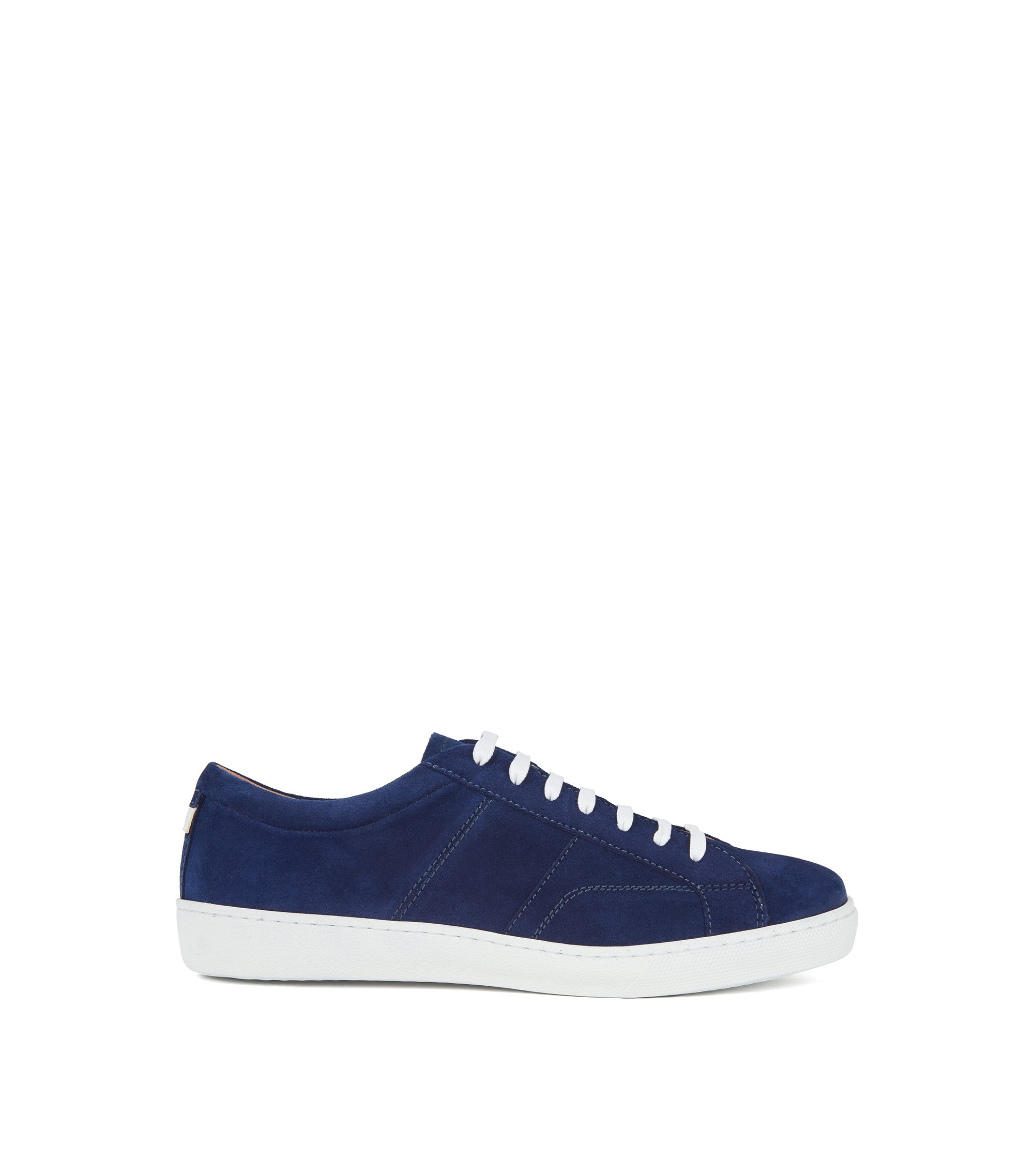 Low-top trainers with calf-suede uppers, Open Blue