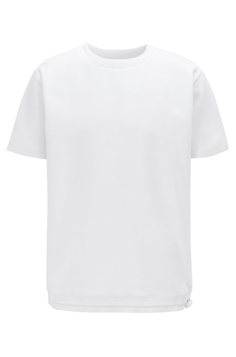 Relaxed-fit T-shirt with drawstring hem, White