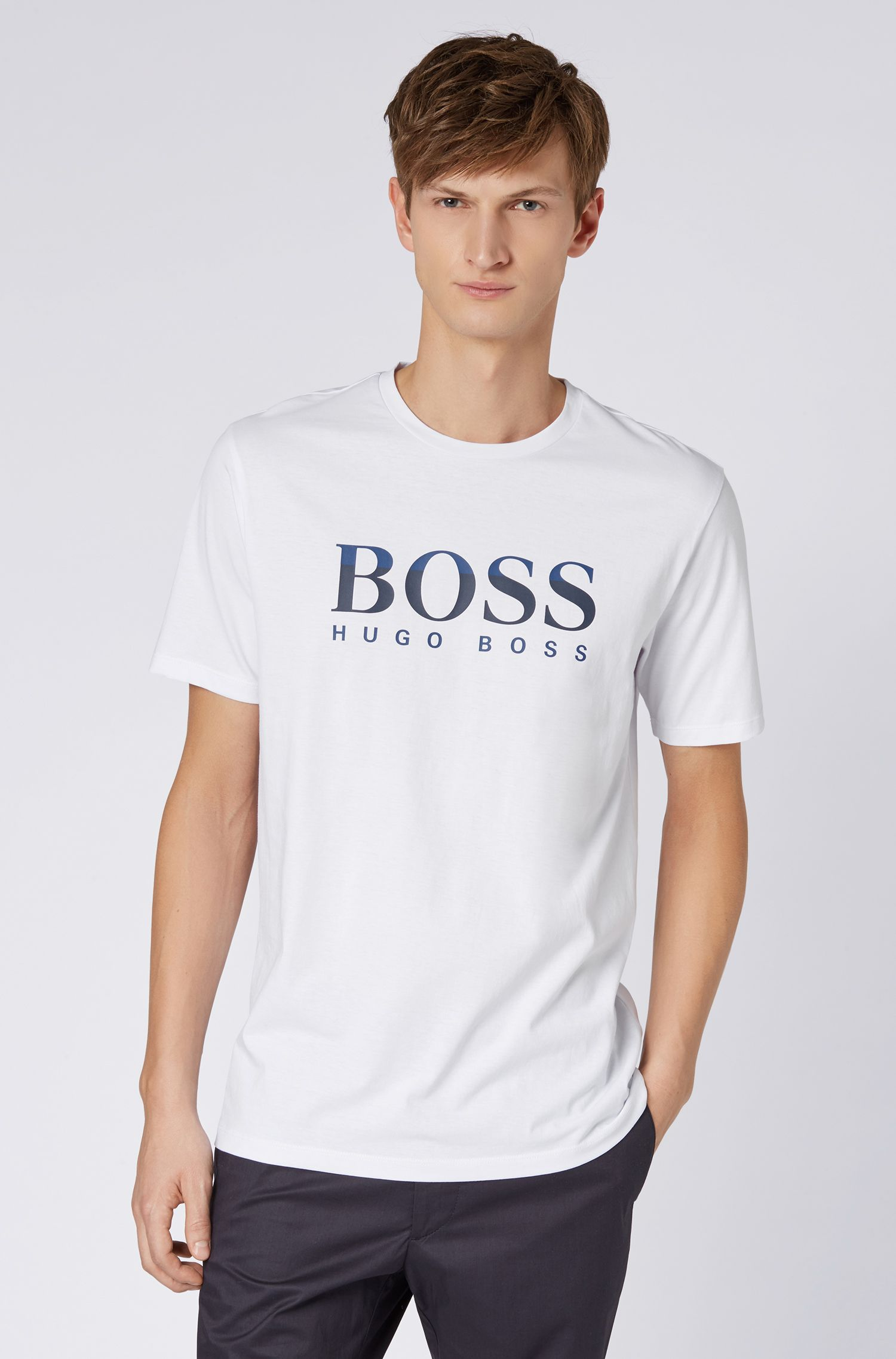 Regular-fit T-shirt with two-colour logo print, White