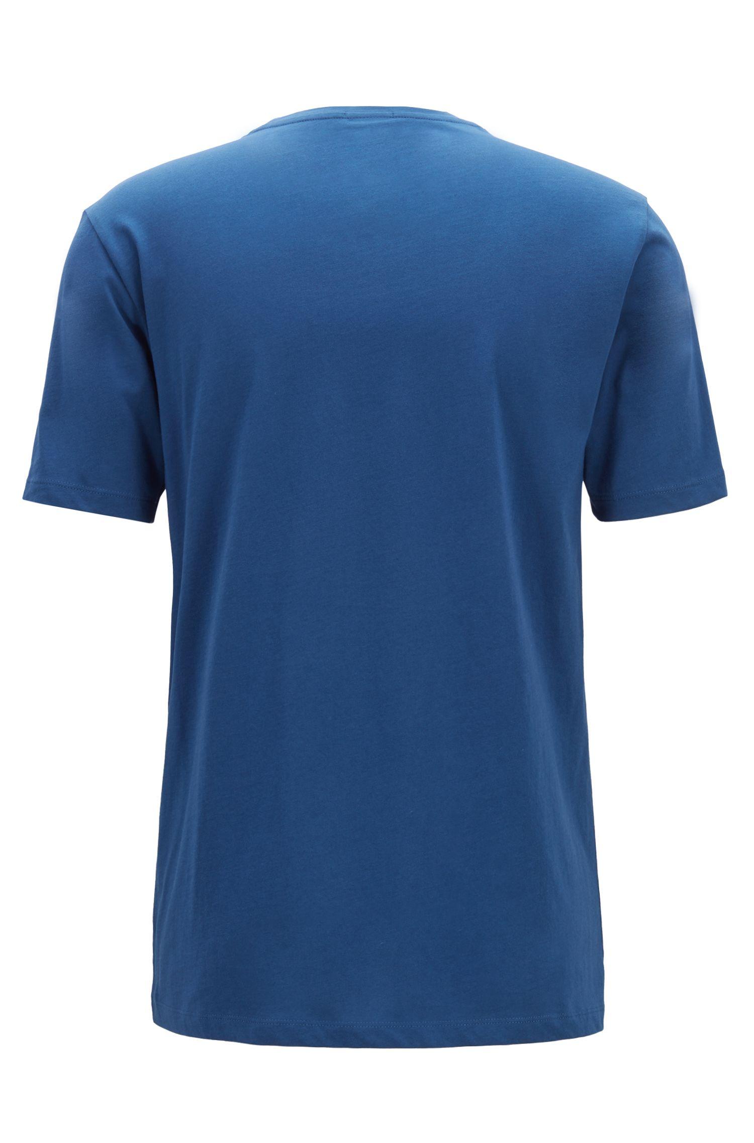 T-Shirt aus Baumwolle mit zweifarbigem Logo-Print, Dunkelblau
