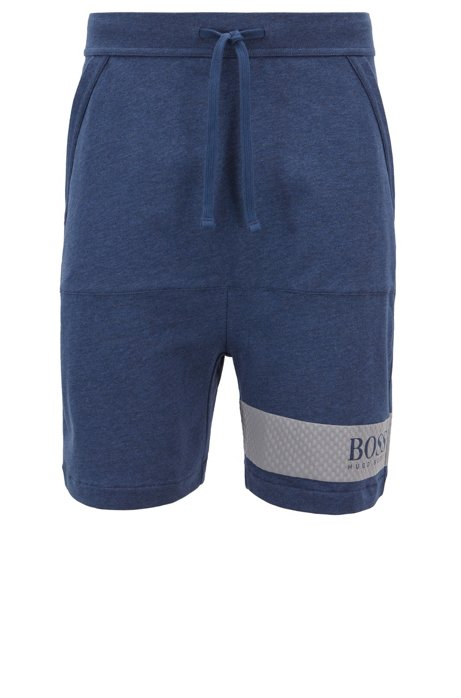 Loungewear shorts in French terry with printed mesh panel, Blue