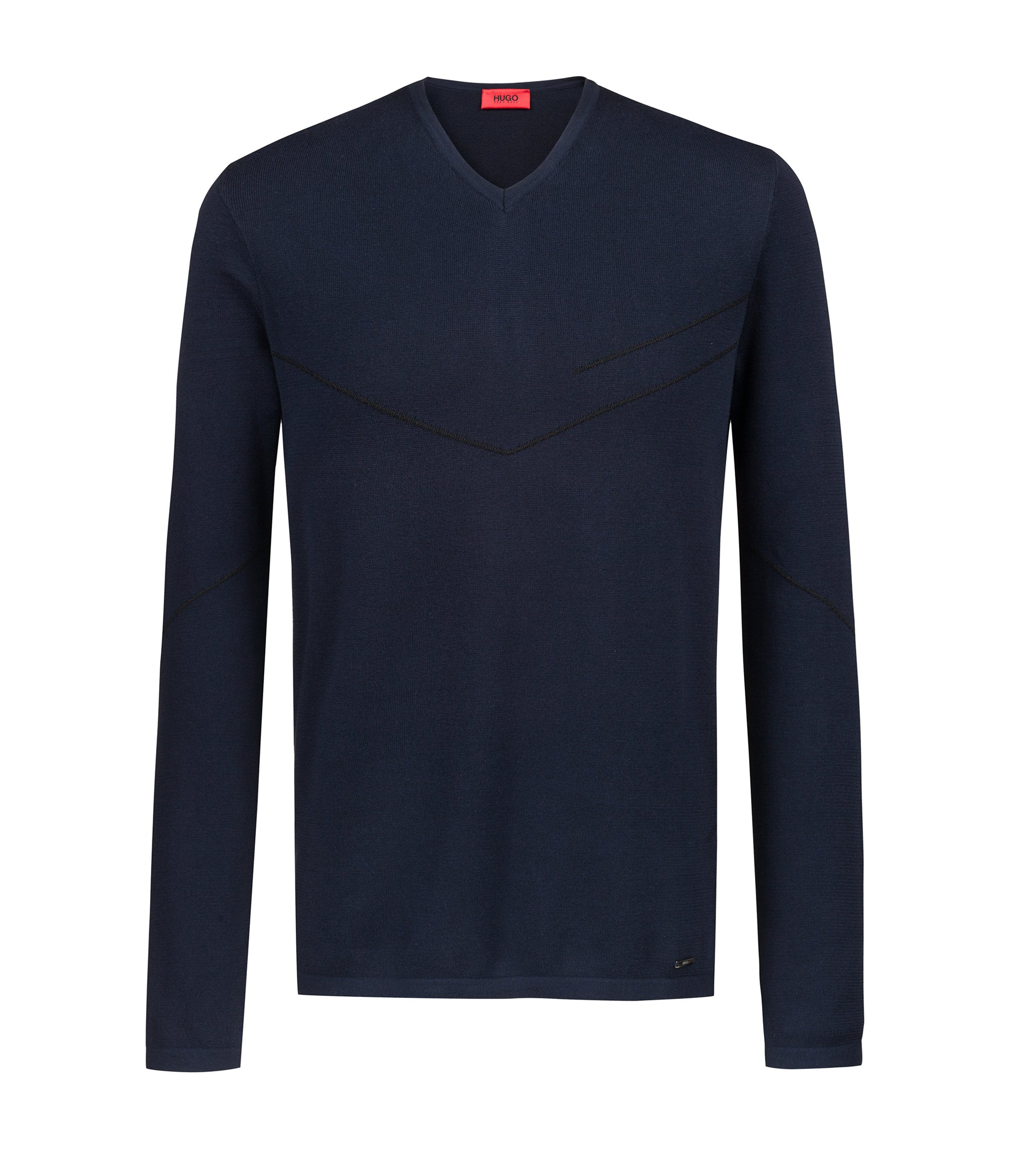 Pullover mit V-Ausschnitt und schimmernden Jacquard-Details aus der Bits&Bytes Capsule, Dunkelblau