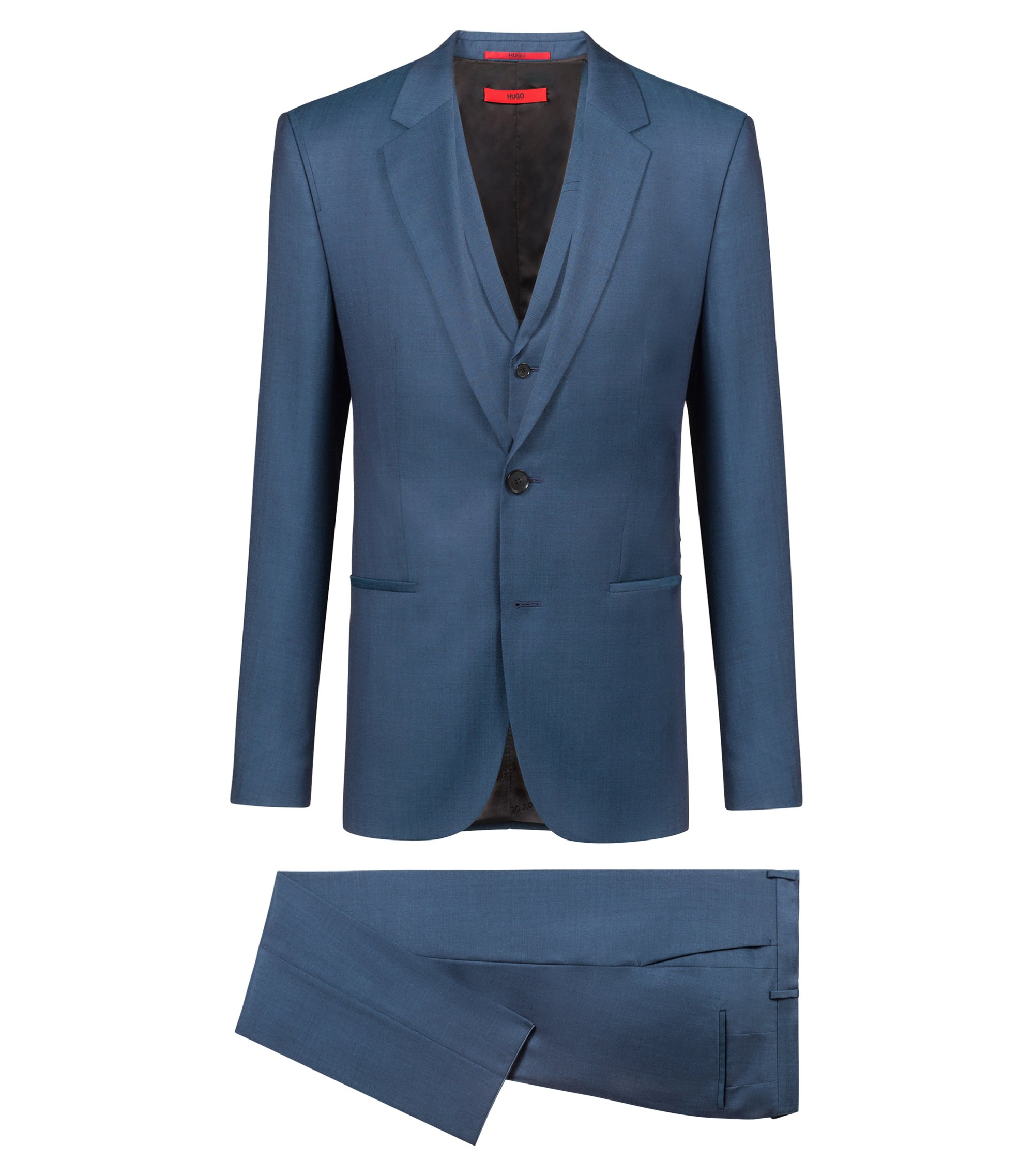 Bits & Bytes Capsule extra-slim-fit three-piece suit in virgin wool, Blue