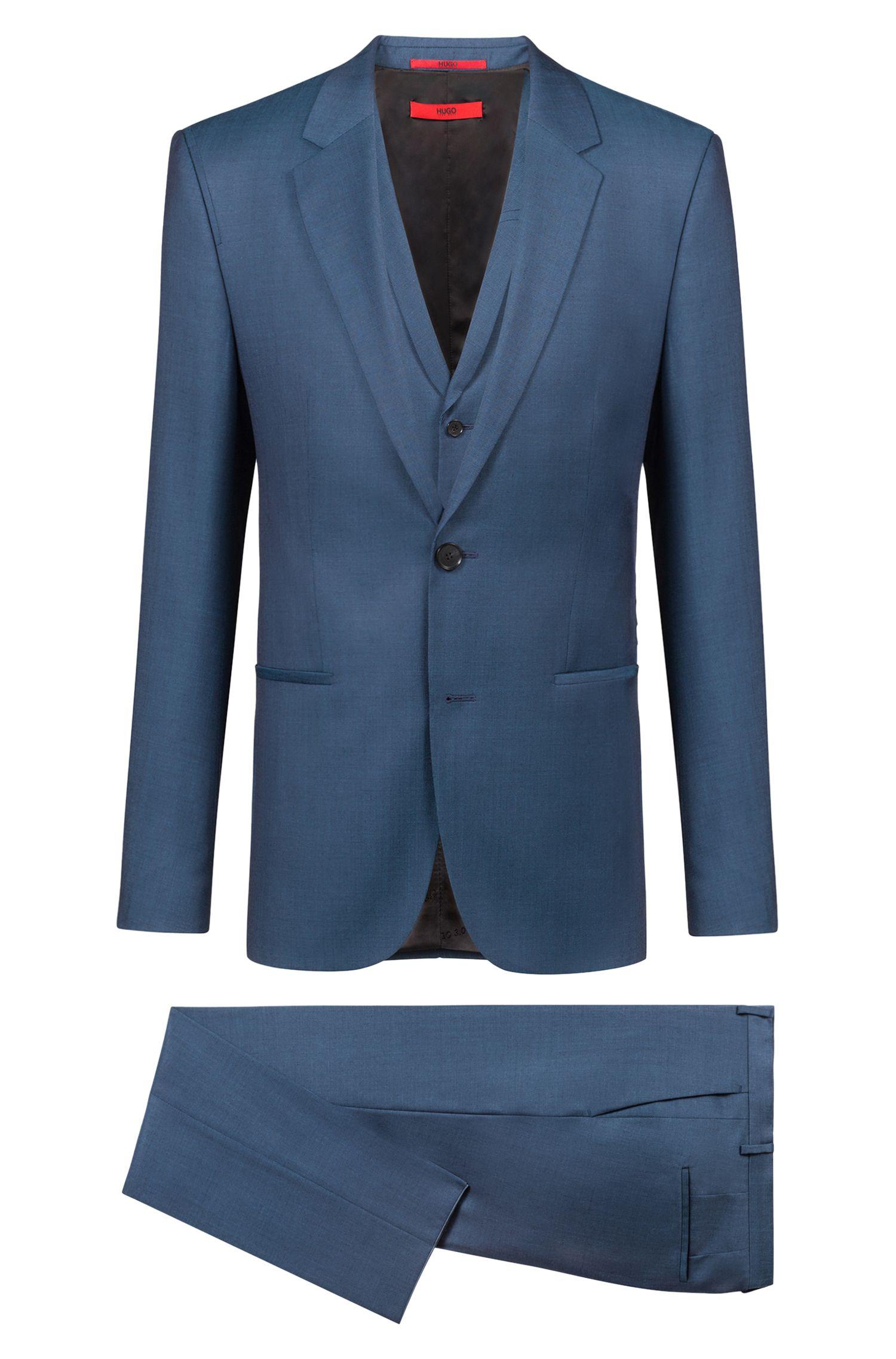 Abito con gilet extra slim fit in lana vergine della capsule Bits & Bytes, Blu