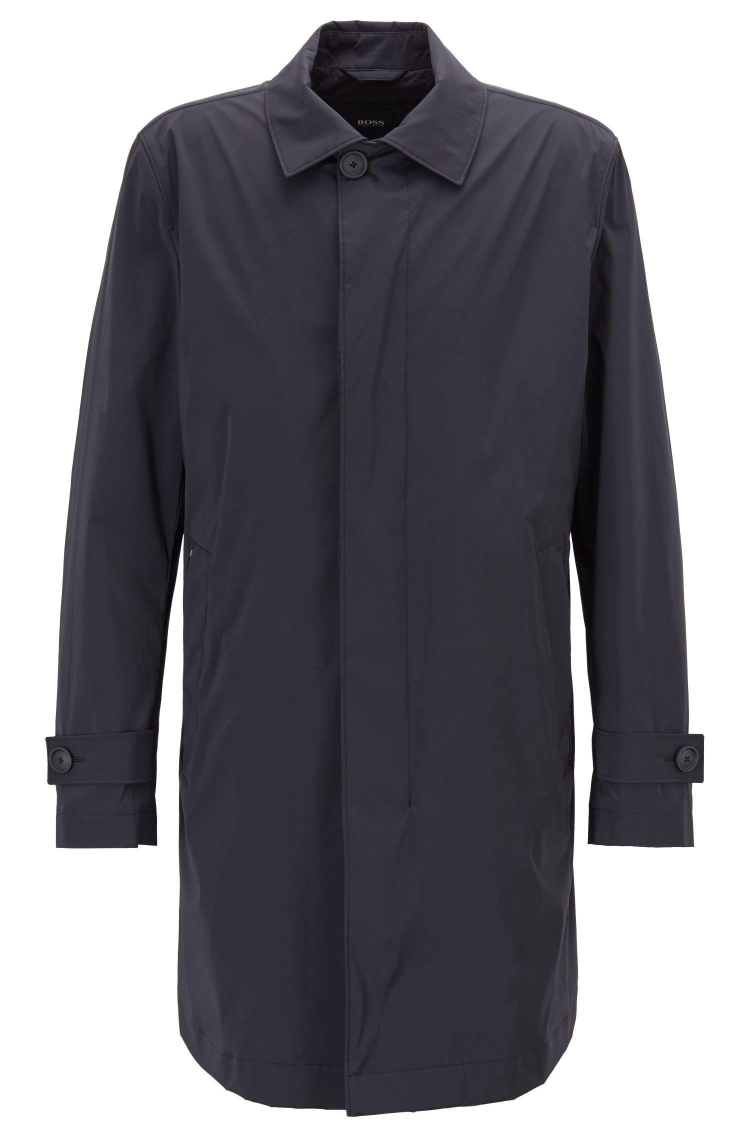 Manteau carcoat long en tissu stretch, Noir