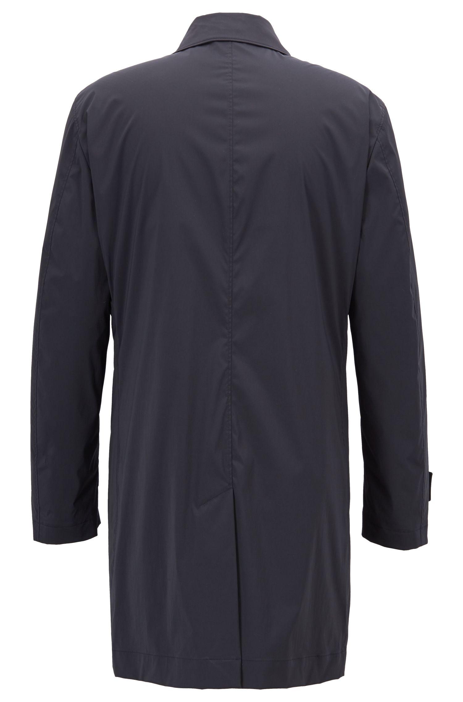 Long-length car coat in stretch fabric, Black