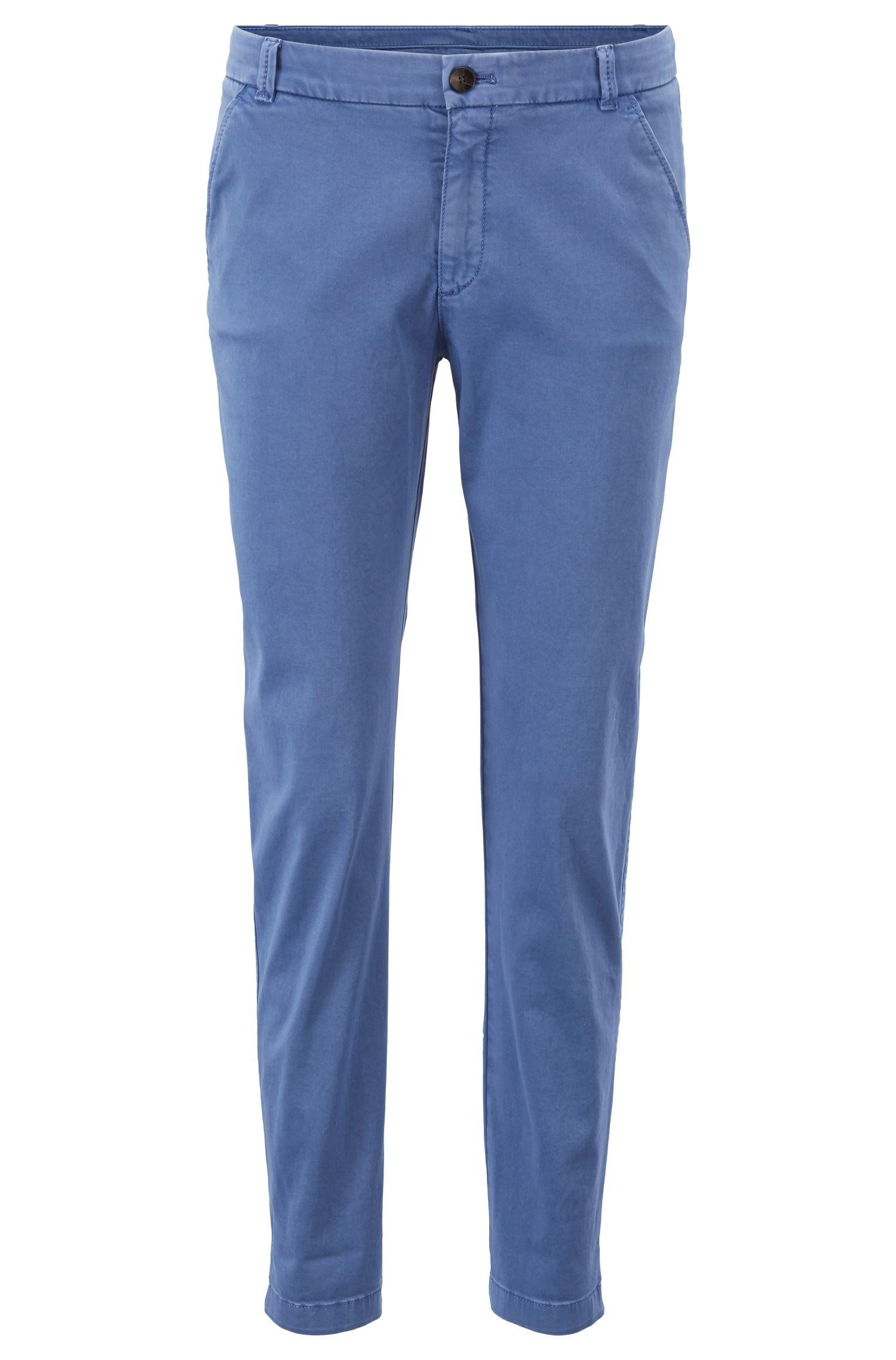 Regular-Fit Chino aus Stretch-Baumwolle mit Satin-Finish, Blau