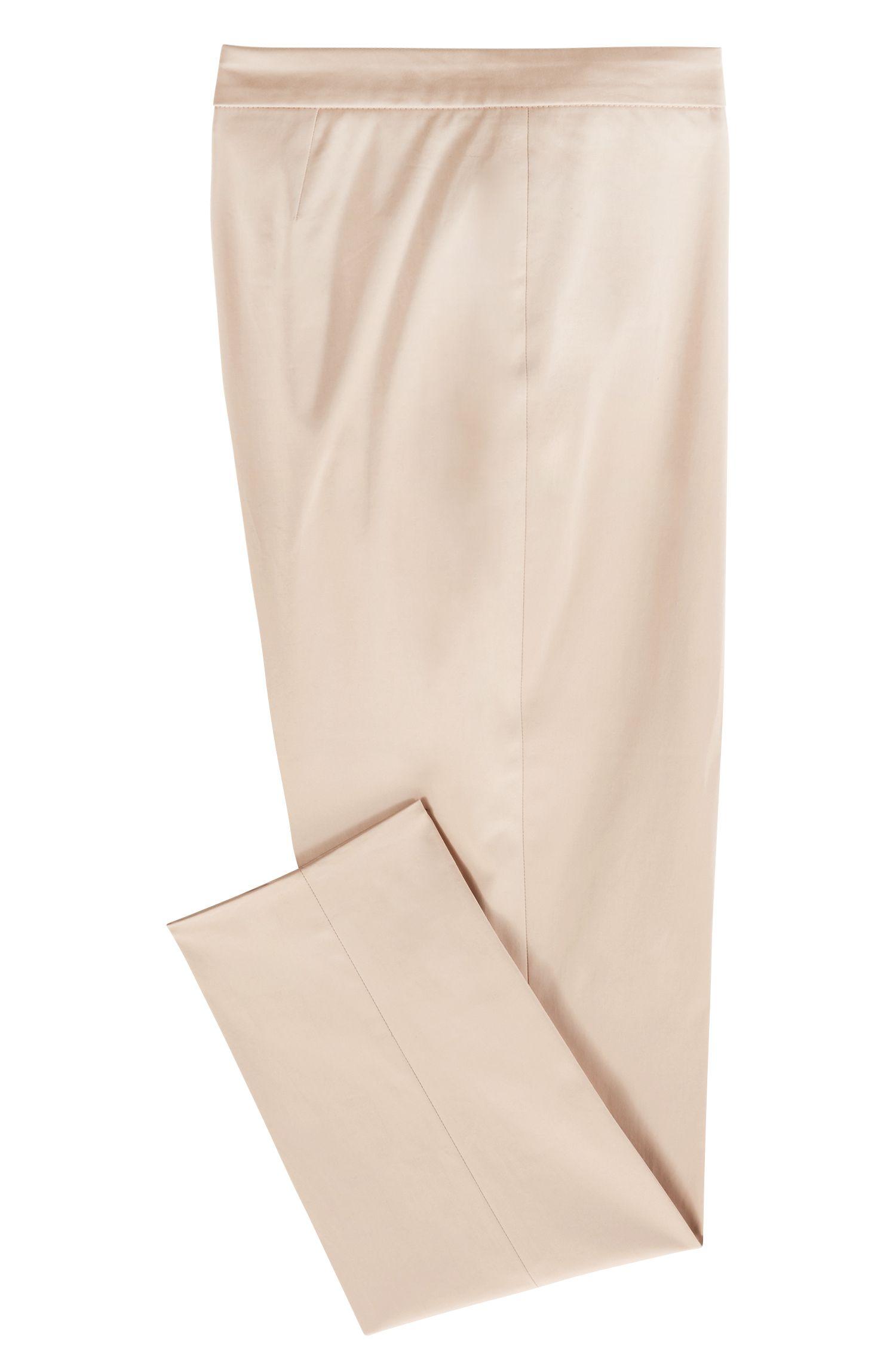 Kortere, regular-fit broek van stretchkatoenen satijn, Beige