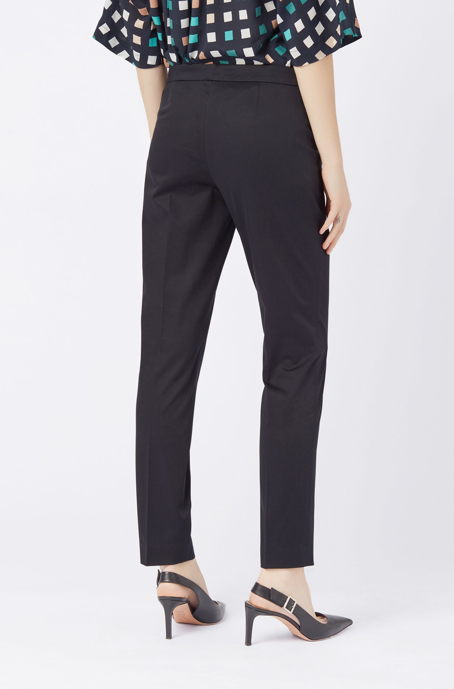 Regular-fit cropped trousers in stretch-cotton satin, Dark Blue