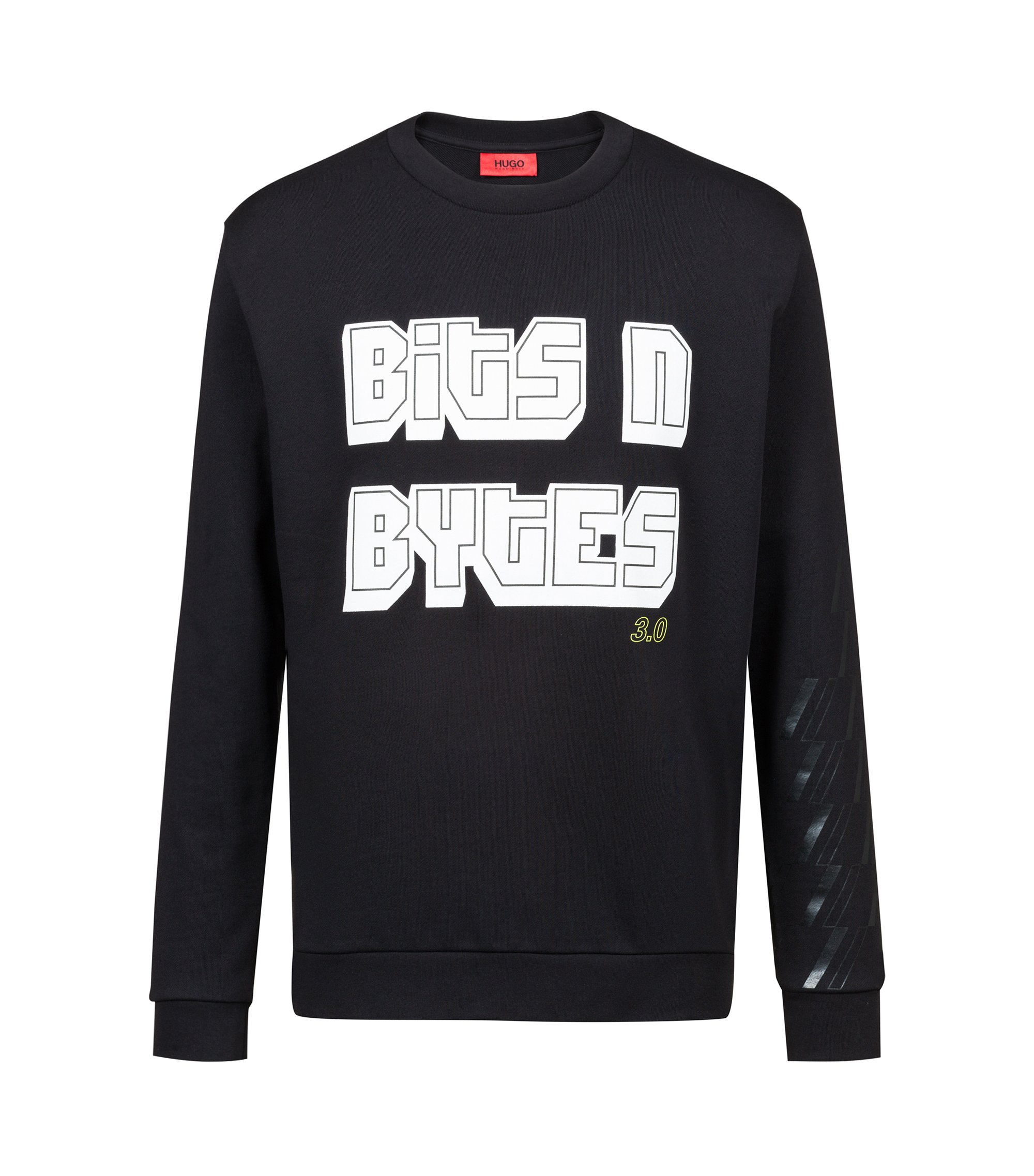 Bits & Bytes Capsule slogan sweatshirt in French terry, Black