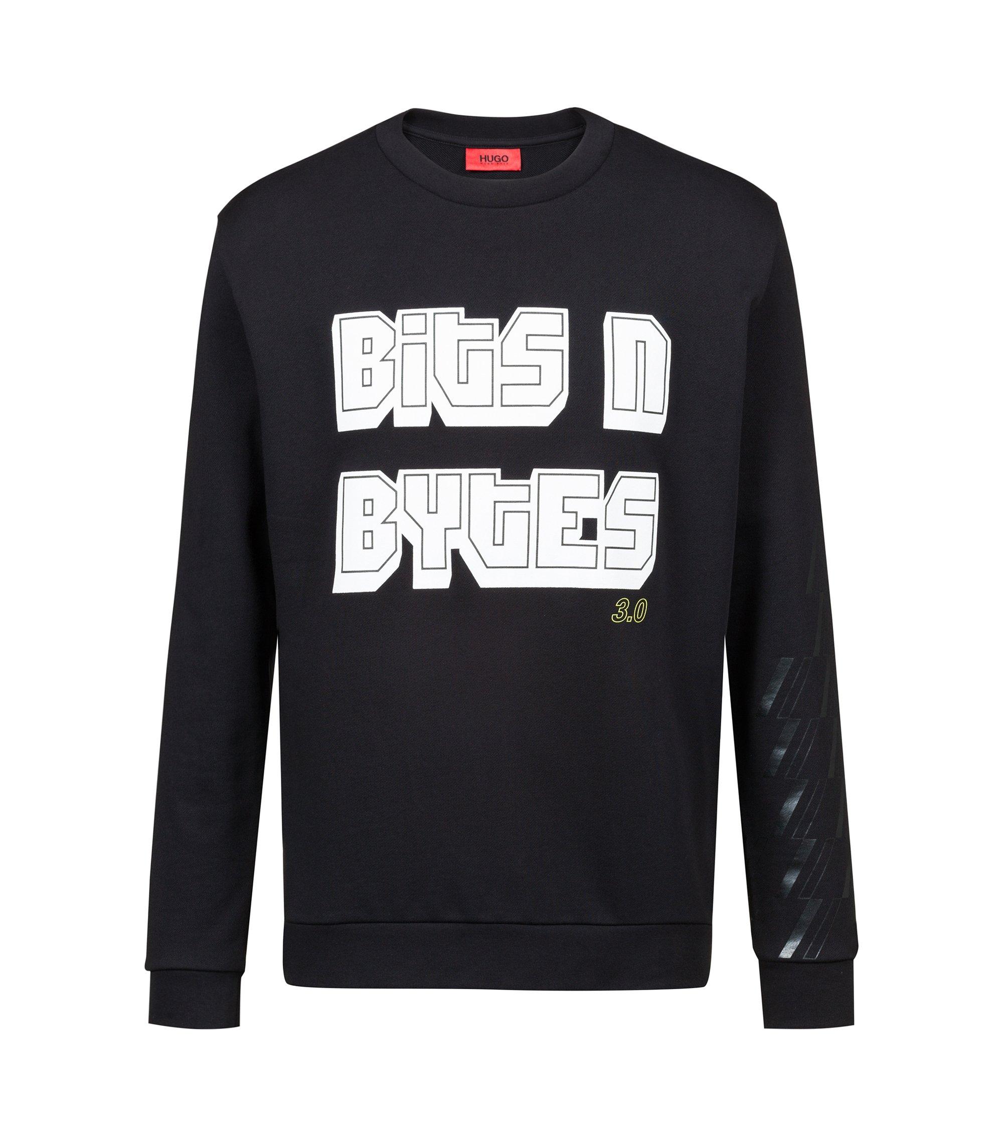 Slogansweater van badstof uit de Bits & Bytes-capsule, Zwart