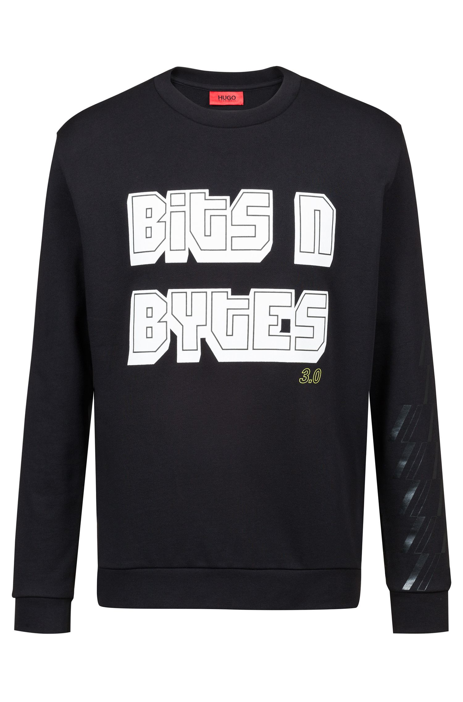 Sweat en molleton French Terry avec slogan de la collection capsule Bits & Bites, Noir