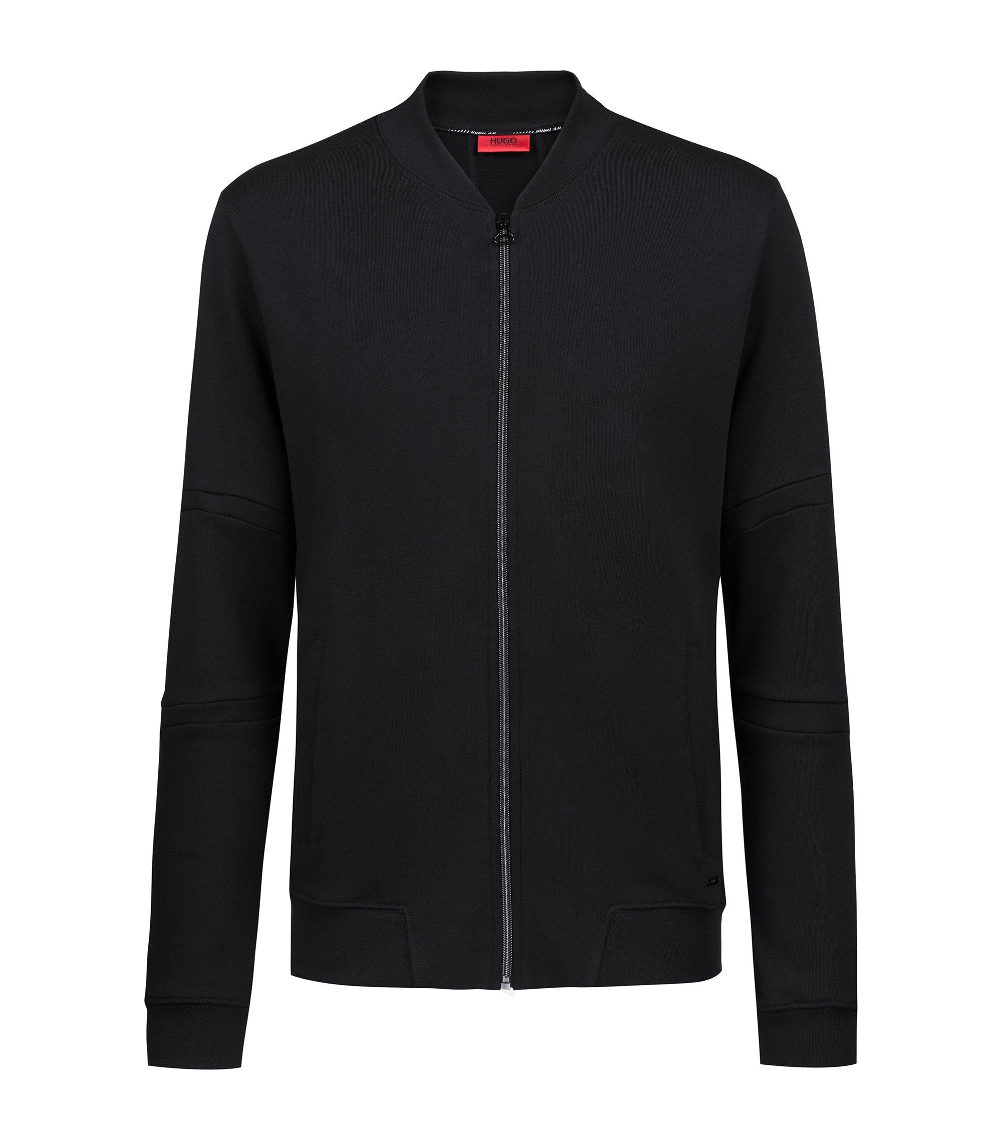 Sweater met doorlopende ritssluiting van badstof uit de Bits & Bytes-capsule, Zwart