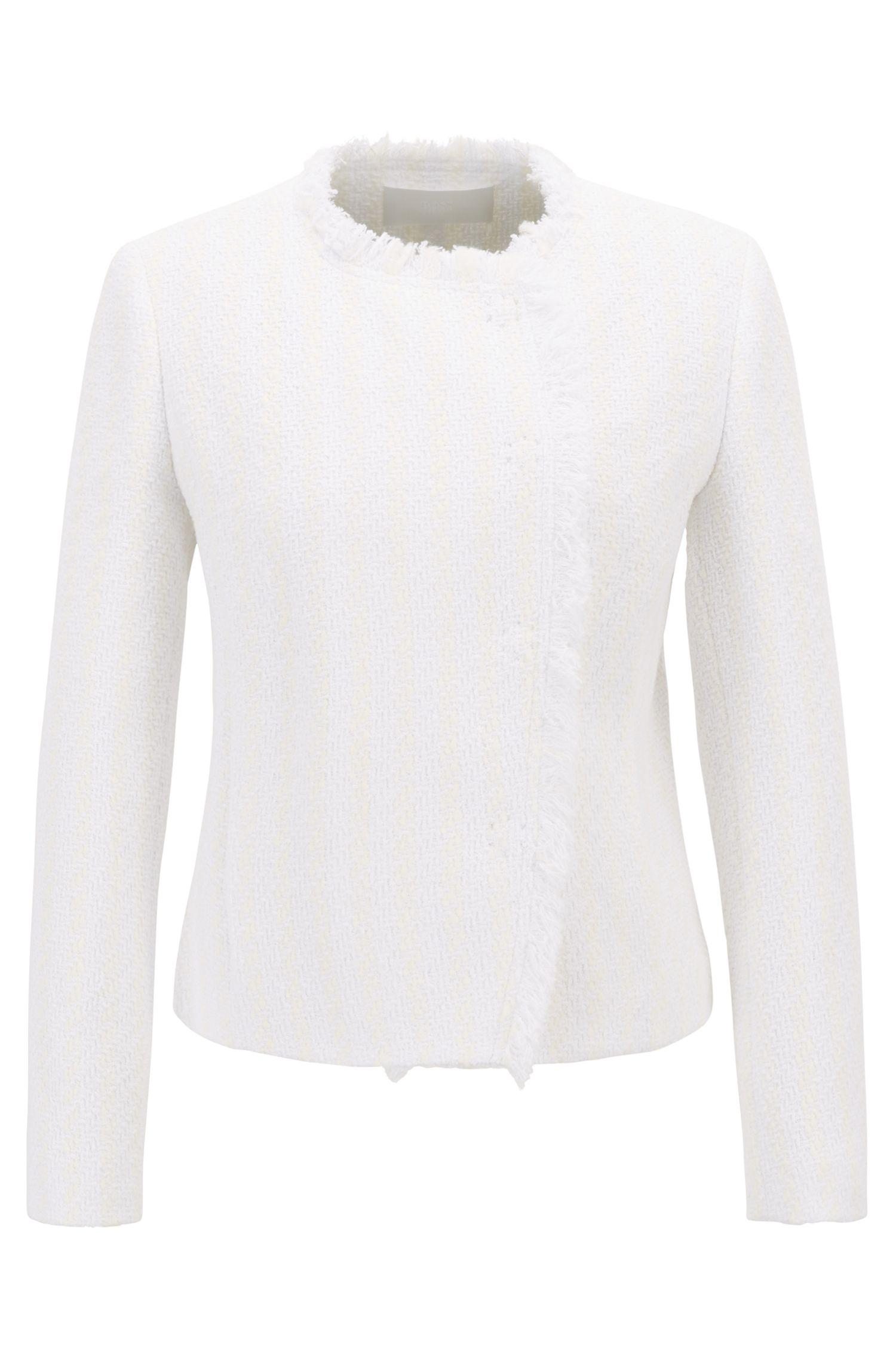 Regular-Fit Blazer aus Tweed mit asymmetrischer Vorderseite, Natur