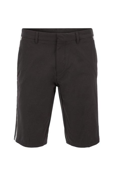 Wasserabweisende Extra Slim-Fit Shorts aus Stretch-Ripstop, Schwarz