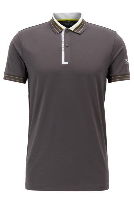 Polo regular fit in jersey elasticizzato con sistema di gestione dell'umidità, Grigio
