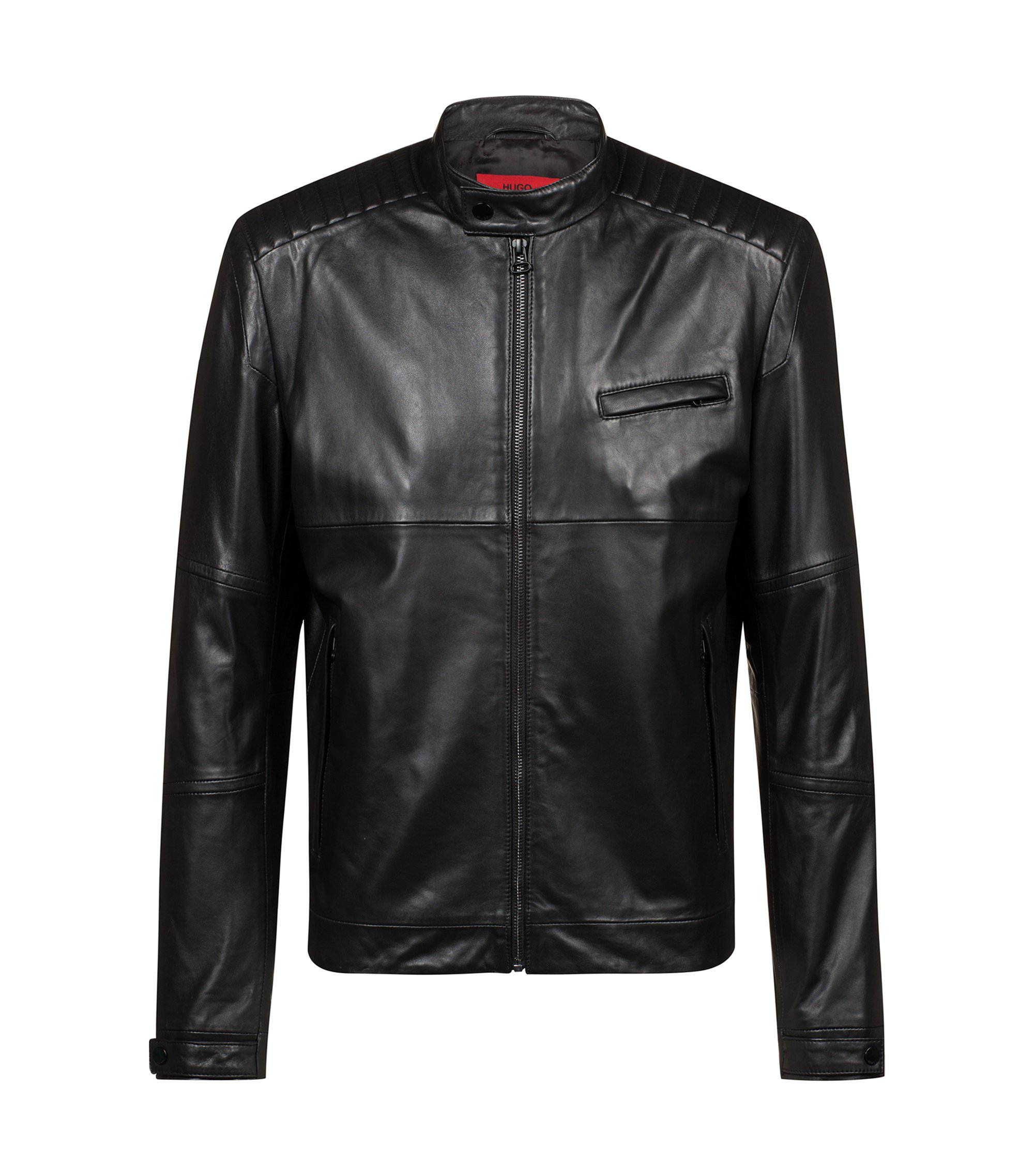Bits & Bytes Capsule leather jacket with quilting details, Black