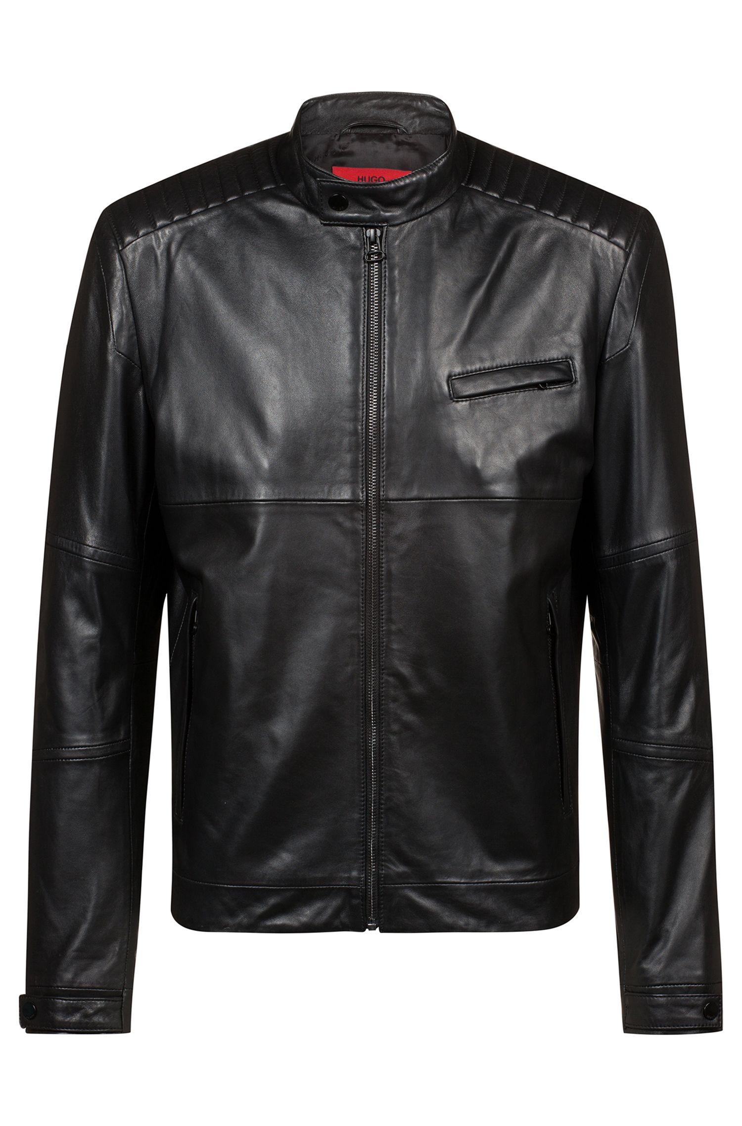 Veste en cuir avec détails matelassés de la collection capsule Bits & Bytes, Noir