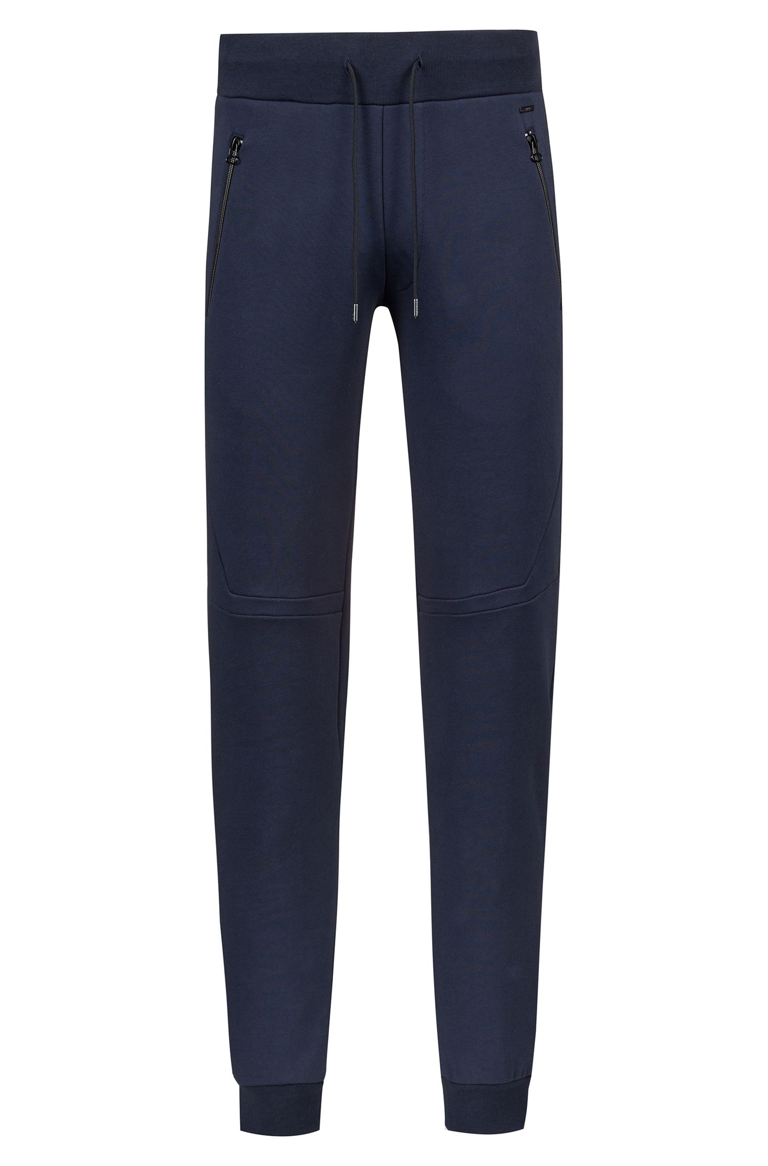 Pantalon Regular Fit resserré au bas des jambes de la collection capsule Bits & Bytes, en molleton French Terry, Bleu foncé