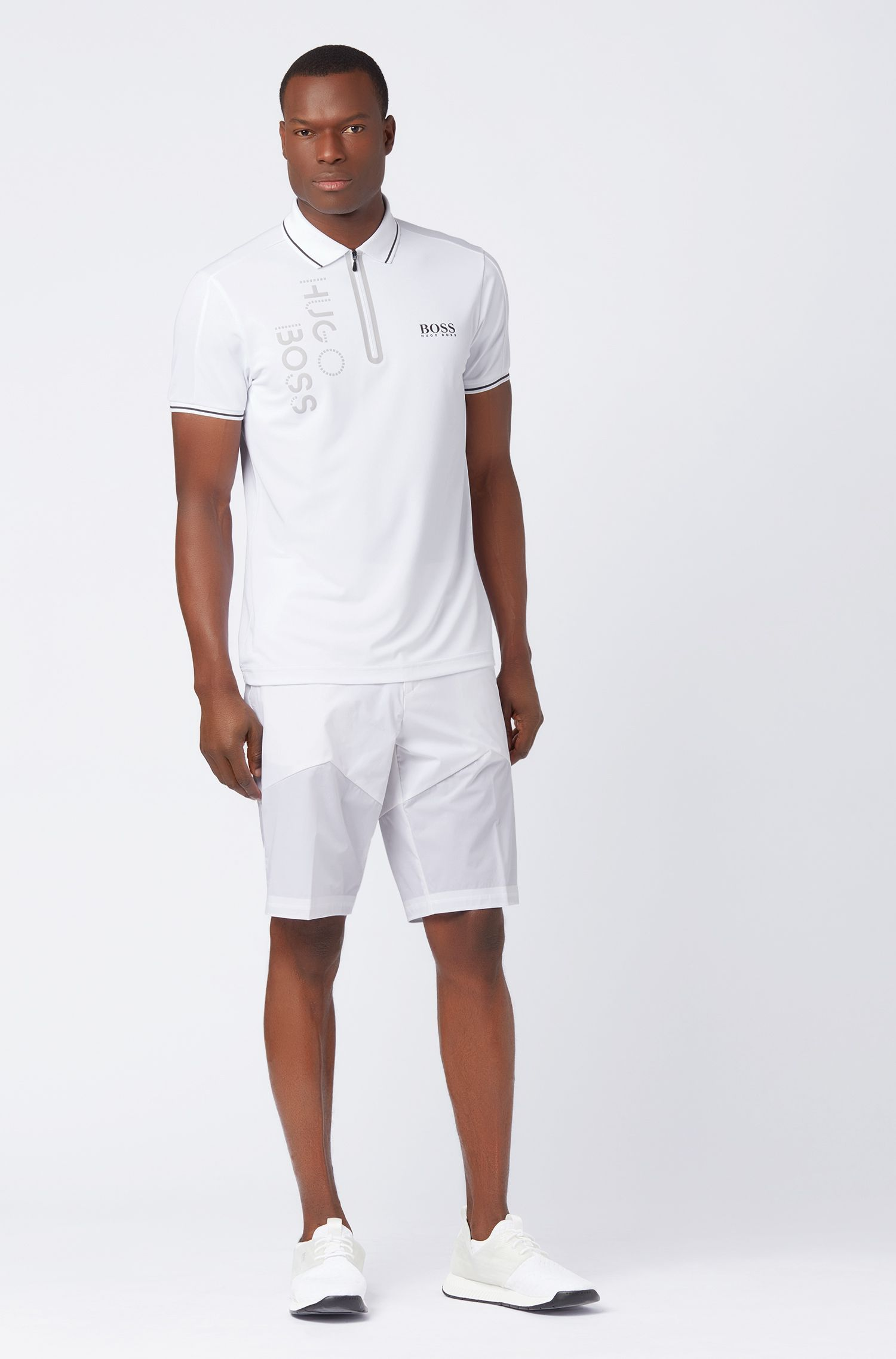 Slim-fit polo shirt with moisture-wicking functionality, White