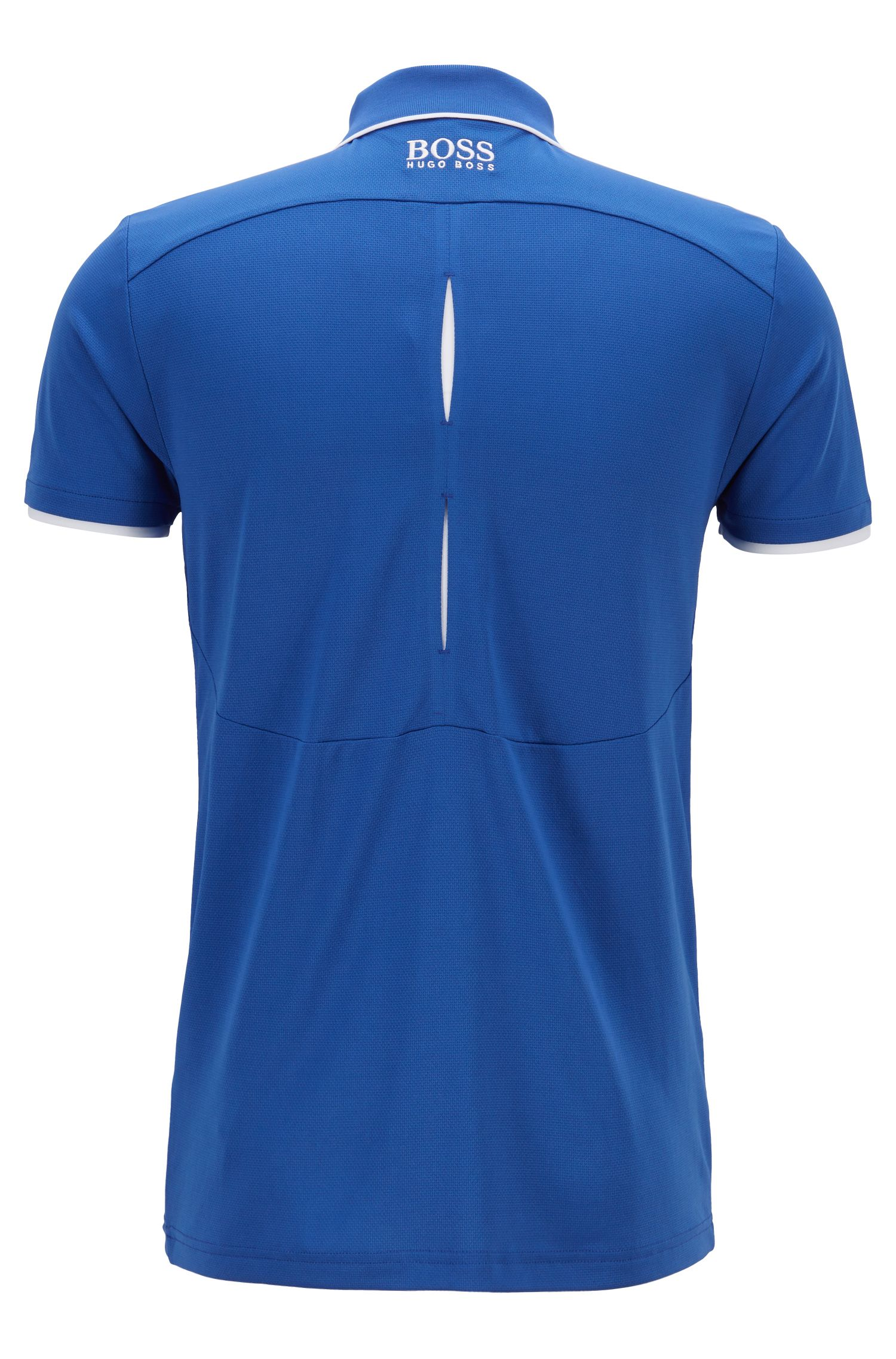 Slim-fit polo shirt in waffle piqué with S.Café®, Blue