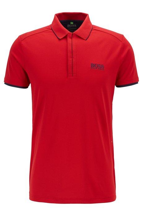 Polo Slim Fit en maille piquée gaufrée, avec des fibres S.Café®, Rouge