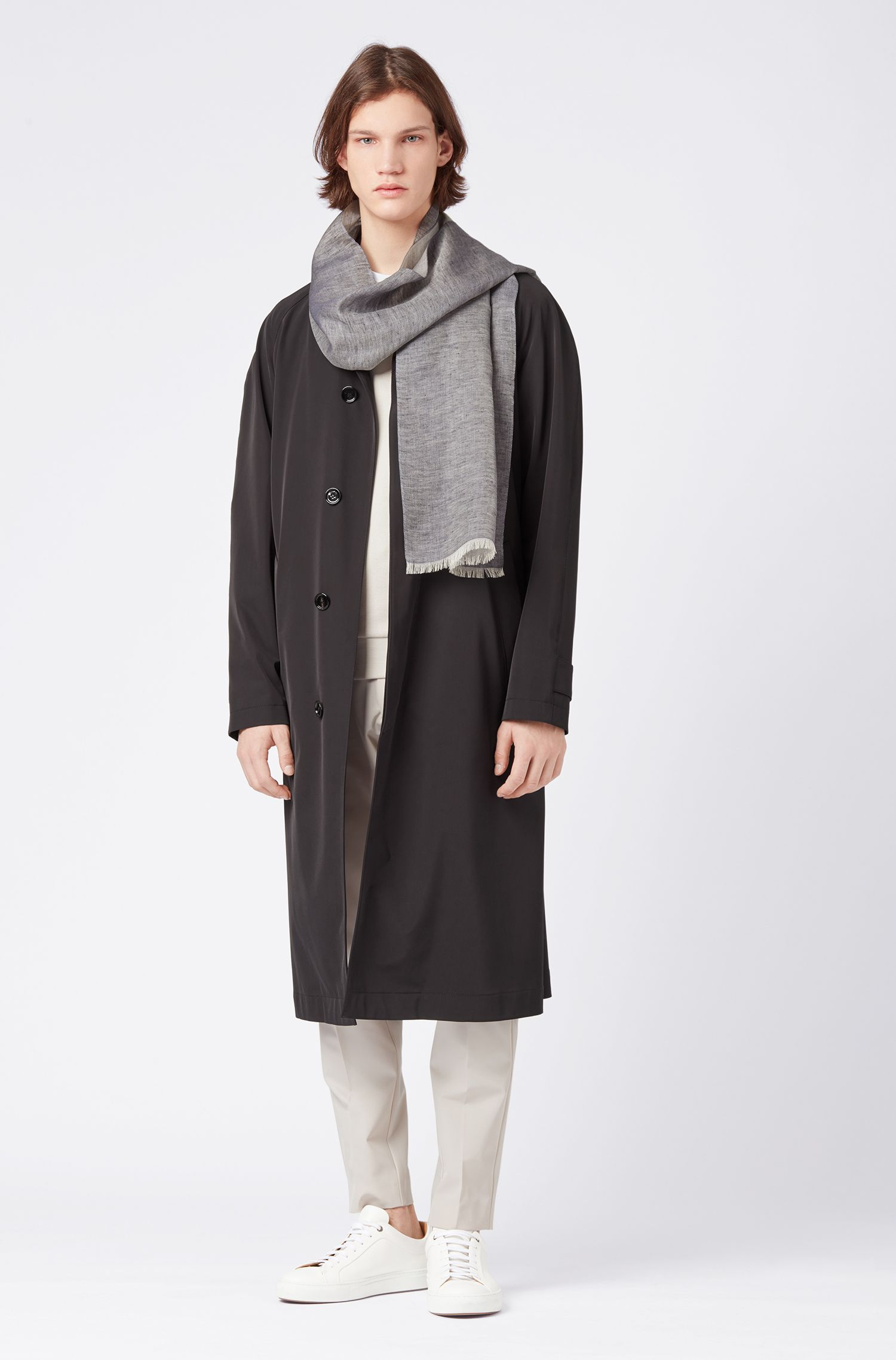Jacquard-logo scarf in cotton with linen, Grey