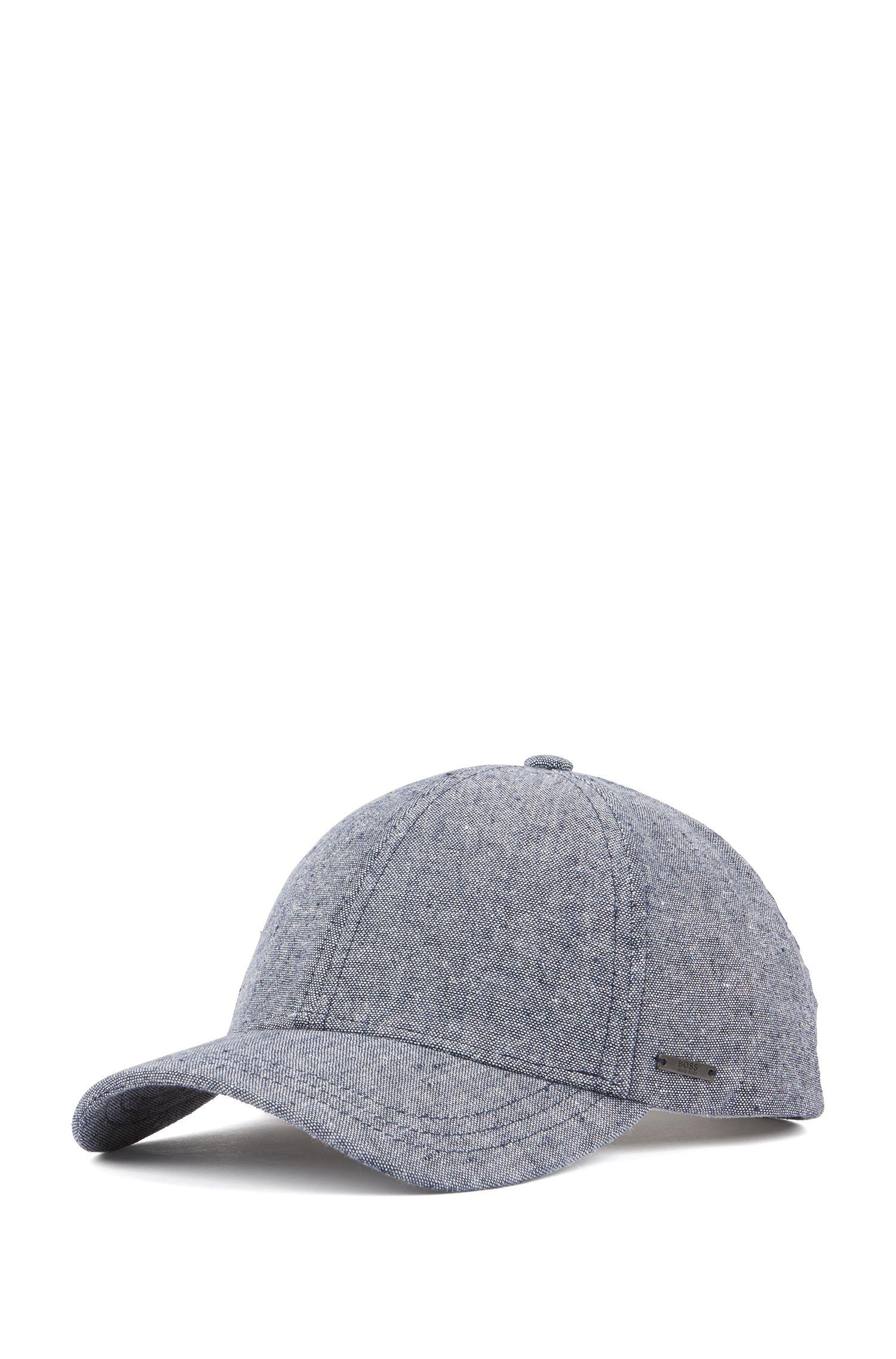 Melange cap in cotton with linen, Dark Blue
