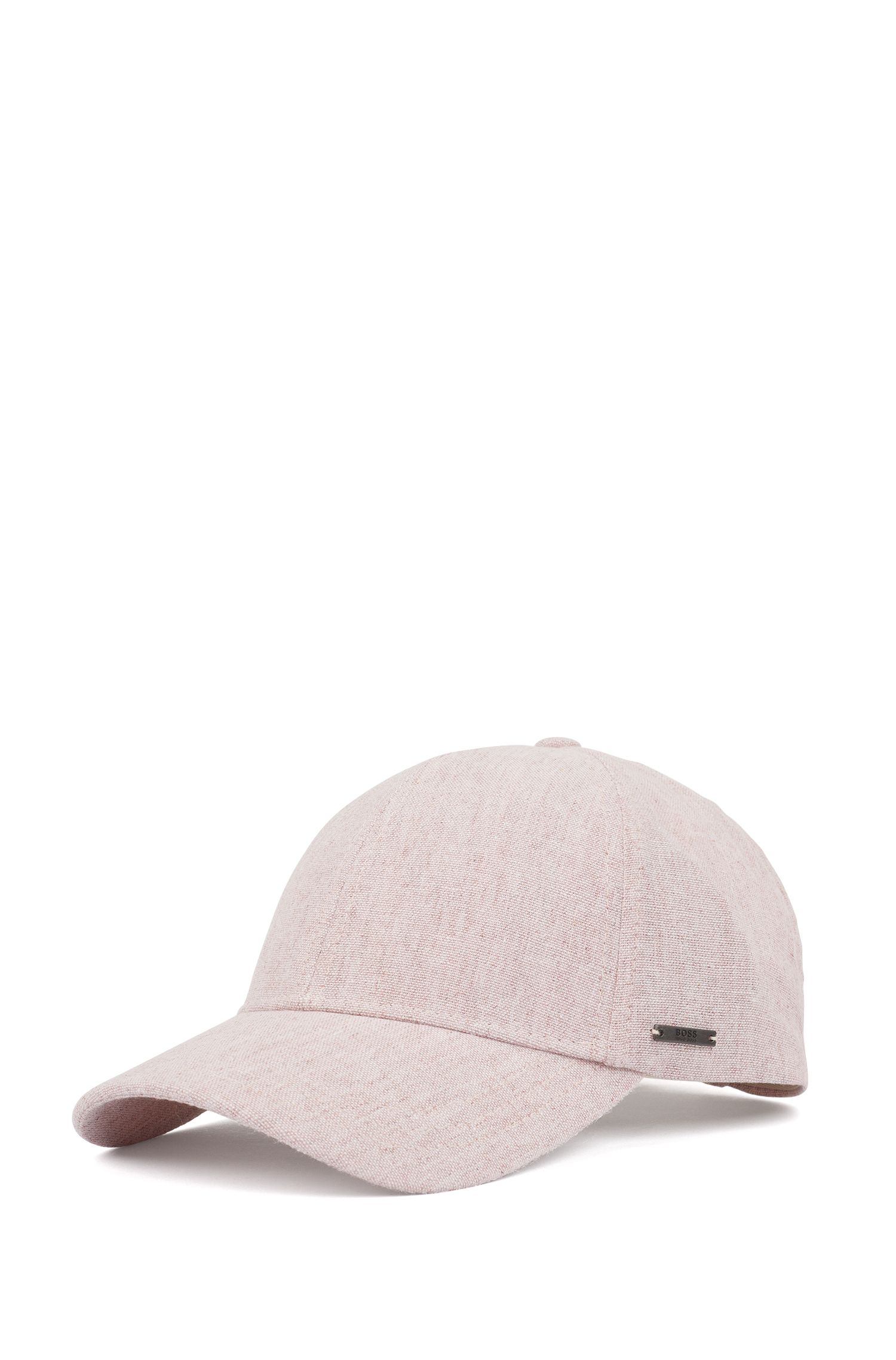 Melange cap in cotton with linen, Red