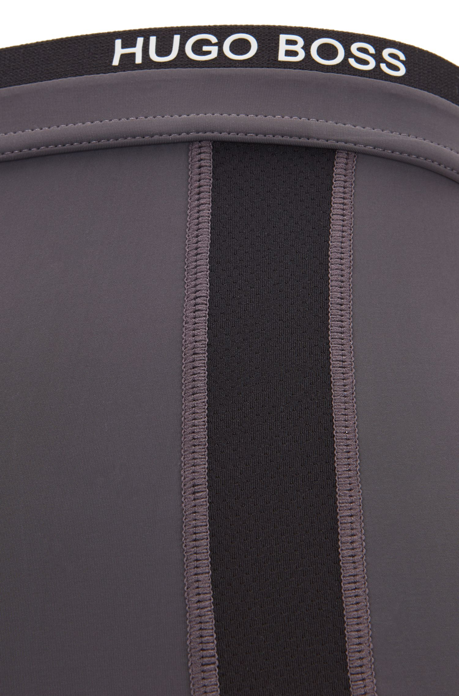 Calzoncillos de corte recto en punto elástico con inserciones de malla, Gris oscuro