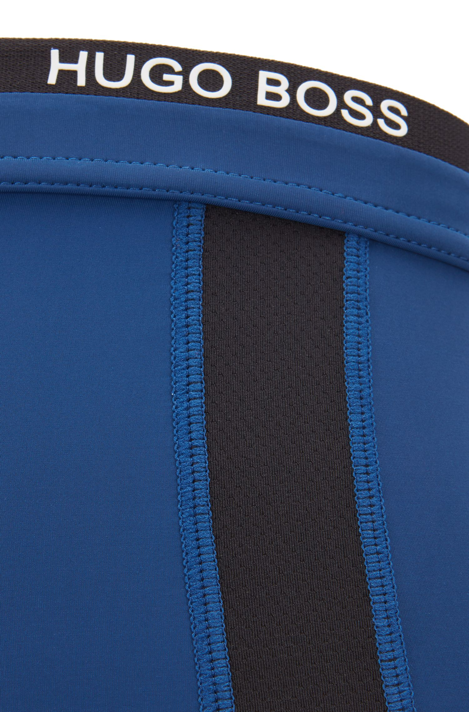 Straight-cut trunks in stretch jersey with mesh inserts, Blue