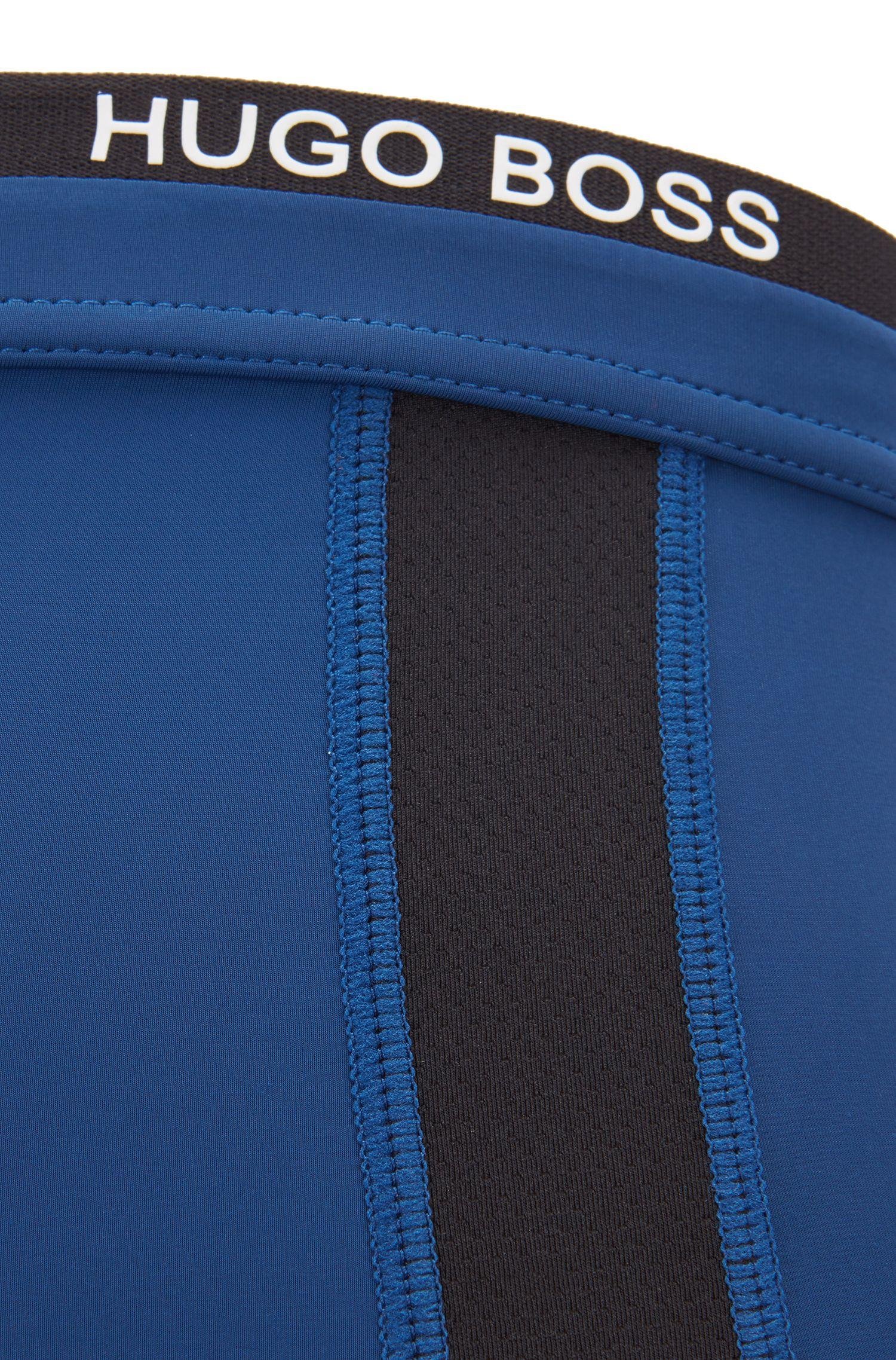 Gerade geschnittene Boxershorts aus Single Jersey mit Mesh-Einsätzen, Blau