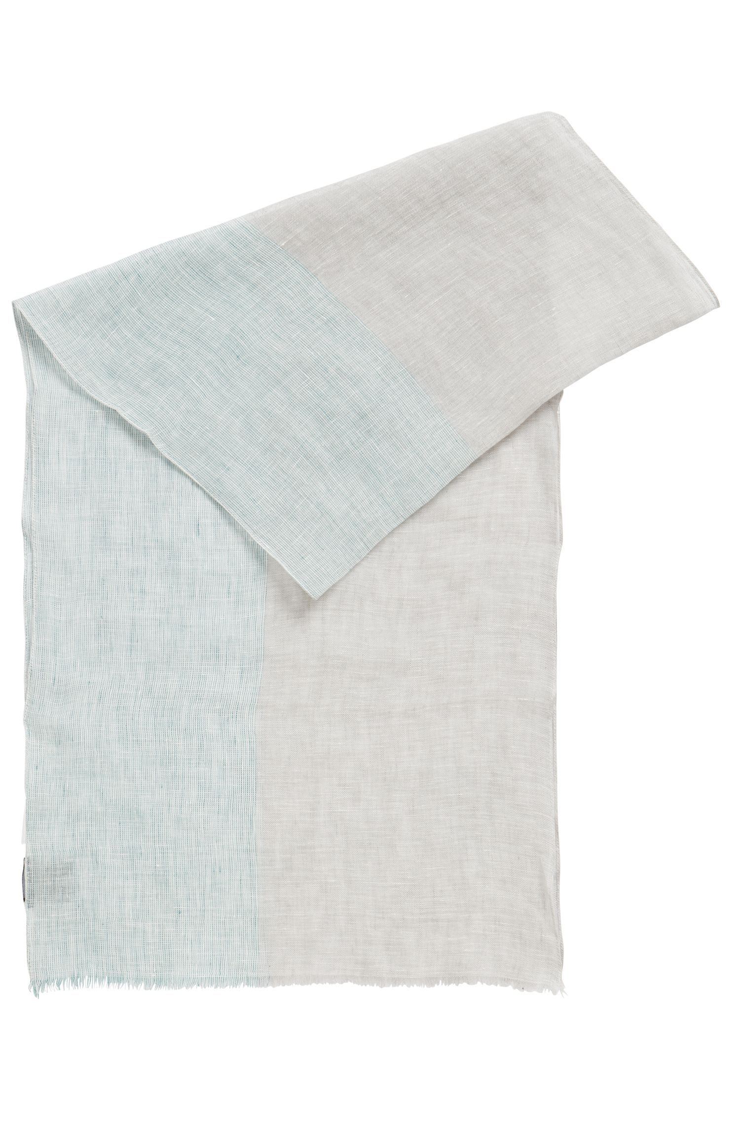 Linen scarf with fringed edges, Light Green