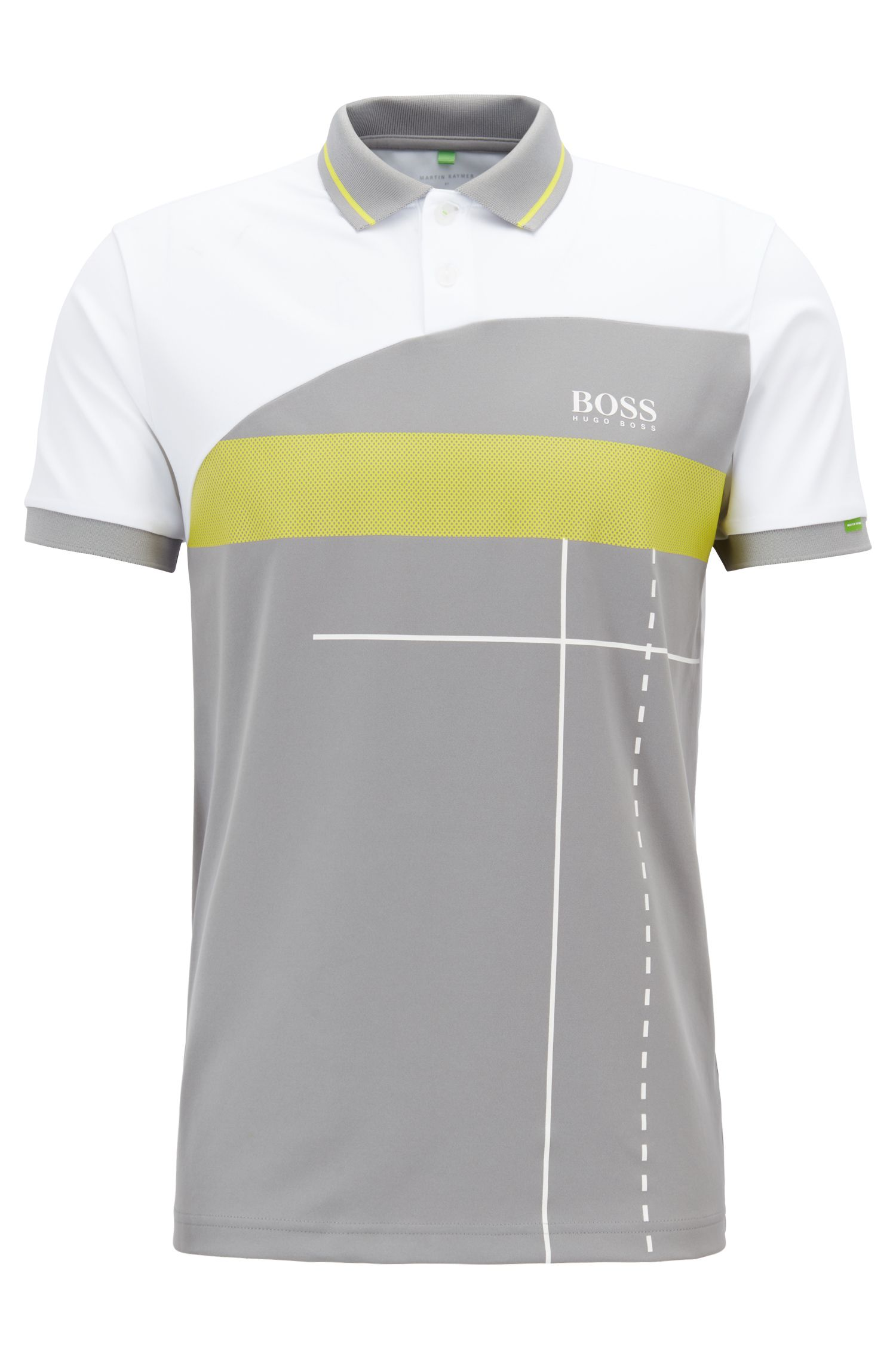 Martin Kaymer regular-fit polo shirt with dynamic artwork, Grey