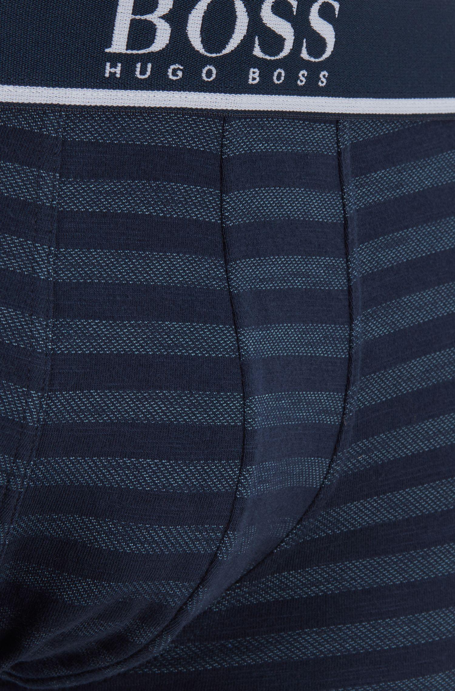 Single-jersey striped trunks with logo waistband, Dark Blue