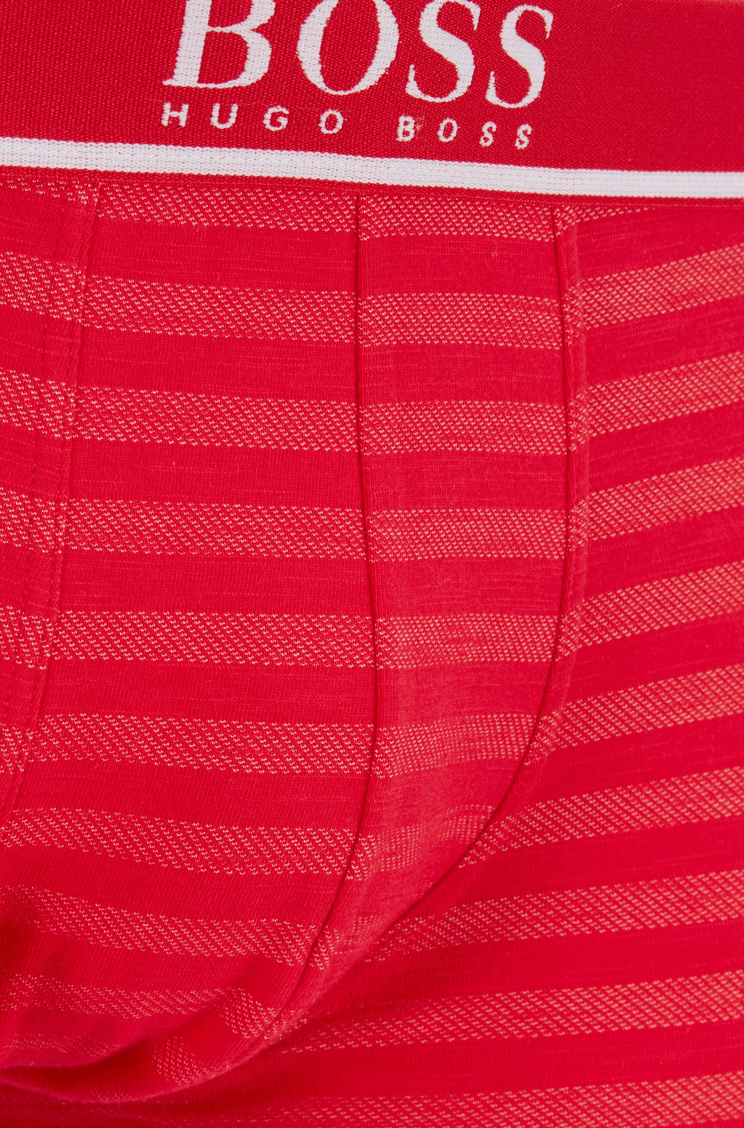 Single-jersey striped trunks with logo waistband, Red