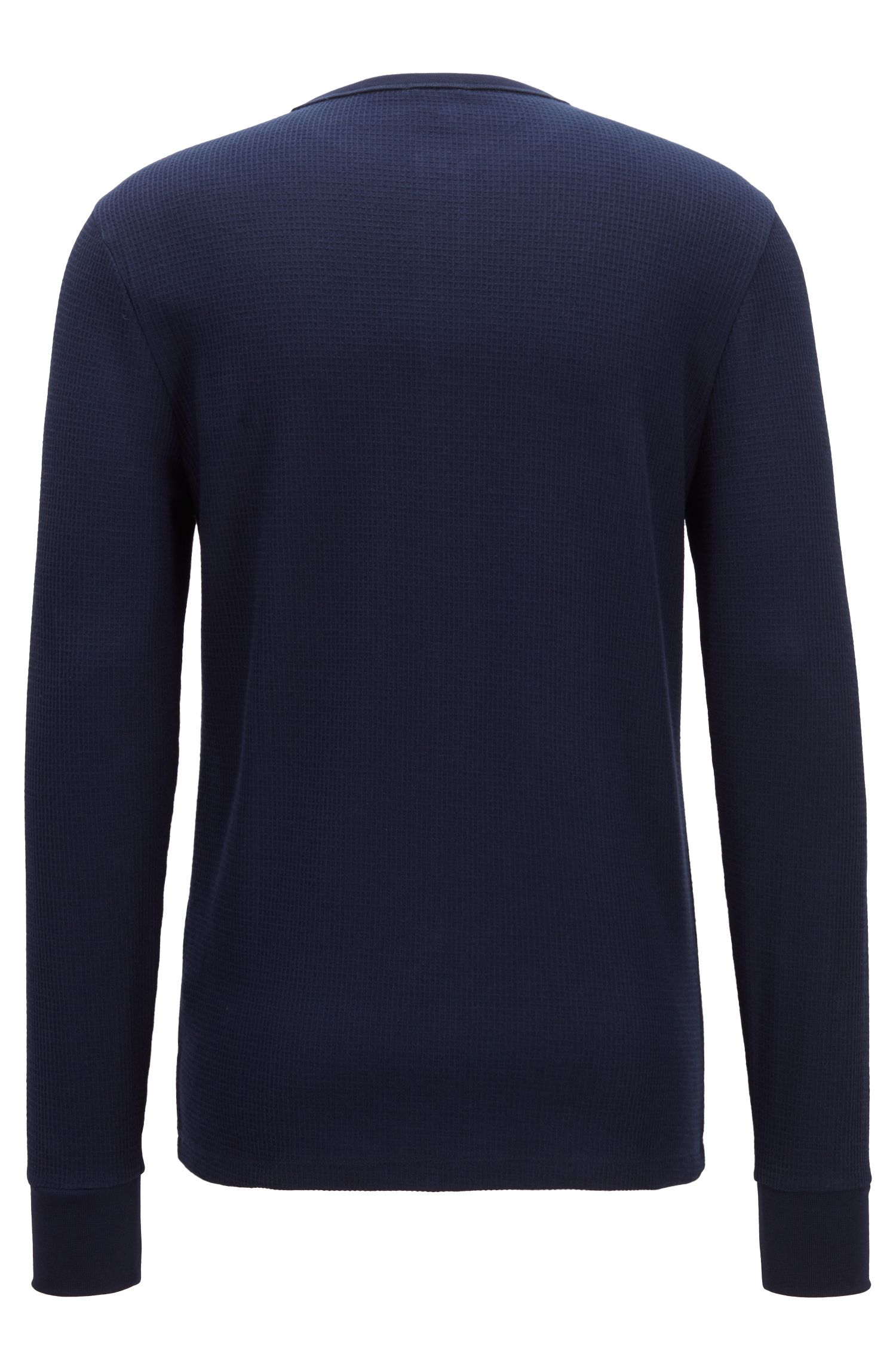 Regular-fit T-shirt van wafelkatoen, Donkerblauw