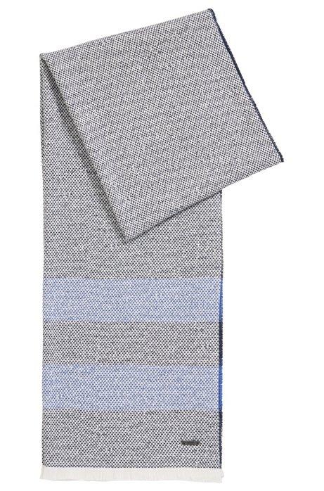 Écharpe rayée en coton structuré, à franges, Bleu